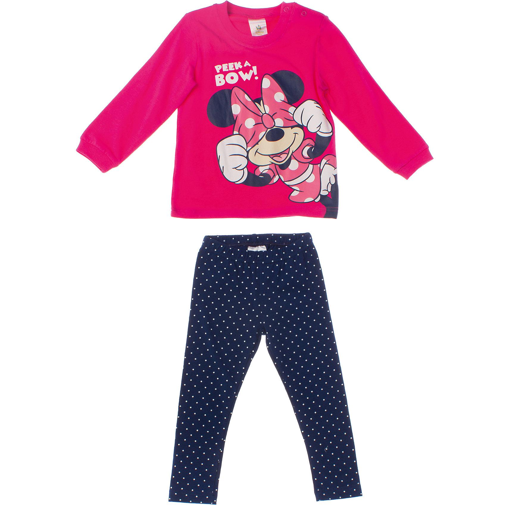 Комплект: футболка и леггинсы для девочки PlayTodayКомплект: футболка и леггинсы для девочки PlayToday <br><br>Состав: 95% хлопок, 5% эластан <br><br>Футболка:<br>Застежки-кнопки на плече.<br>На груди резиновый принт с Минни маус.<br>Рукава и воротник на трикотажной резинке.<br>Леггинсы:<br>Темно-синяя ткань в набивку - горошек.<br>Пояс на резинке.<br><br>Ширина мм: 199<br>Глубина мм: 10<br>Высота мм: 161<br>Вес г: 151<br>Цвет: разноцветный<br>Возраст от месяцев: 9<br>Возраст до месяцев: 12<br>Пол: Женский<br>Возраст: Детский<br>Размер: 74,92,80,86<br>SKU: 4503782