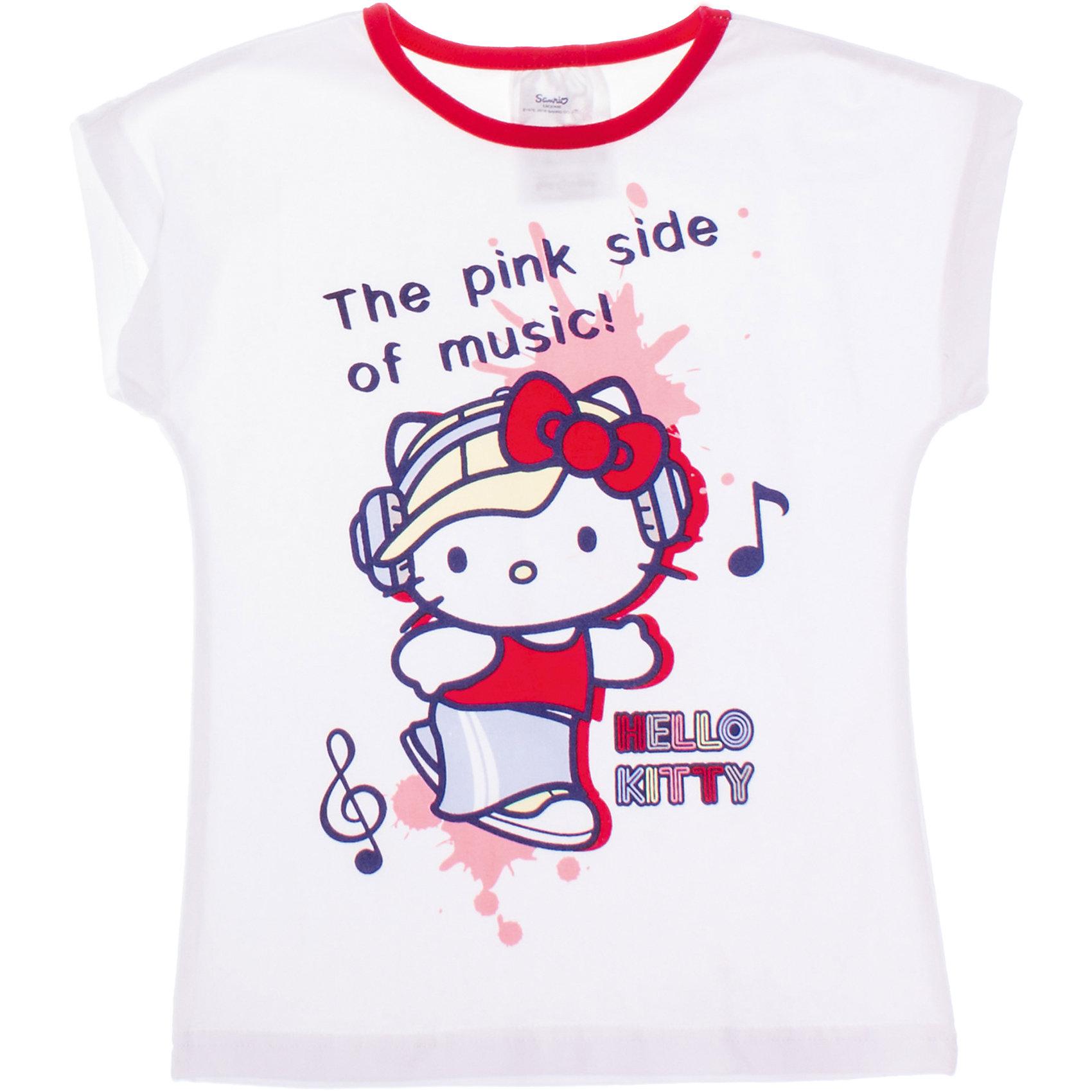 Футболка для девочки PlayTodayФутболки, поло и топы<br>Футболка для девочки PlayToday <br><br>Состав: 95% хлопок, 5% эластан <br><br>Белая хлопковая футболка. <br>Контрастный принт по лицензии Hello Kitty<br><br>Ширина мм: 199<br>Глубина мм: 10<br>Высота мм: 161<br>Вес г: 151<br>Цвет: белый<br>Возраст от месяцев: 72<br>Возраст до месяцев: 84<br>Пол: Женский<br>Возраст: Детский<br>Размер: 116,98,110,128,122,104<br>SKU: 4503819