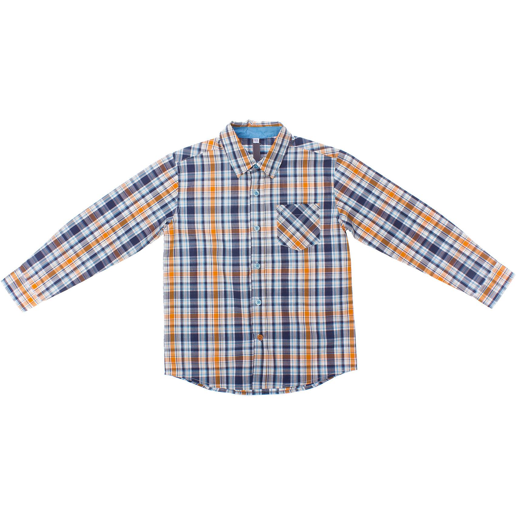 Рубашка для мальчика PlayTodayСорочка для мальчика PlayToday <br><br>Состав: 100% хлопок<br><br>Ткань в клетку - в основных цветах коллекции: синий, оранжевый<br>На груди кармашек<br>Застегивается на пуговки по центру<br>Рукава щастегиваются на пугвоки<br>Строгий воротничок<br><br>Ширина мм: 174<br>Глубина мм: 10<br>Высота мм: 169<br>Вес г: 157<br>Цвет: оранжевый<br>Возраст от месяцев: 48<br>Возраст до месяцев: 60<br>Пол: Мужской<br>Возраст: Детский<br>Размер: 104,122,128,116,98,110<br>SKU: 4503972