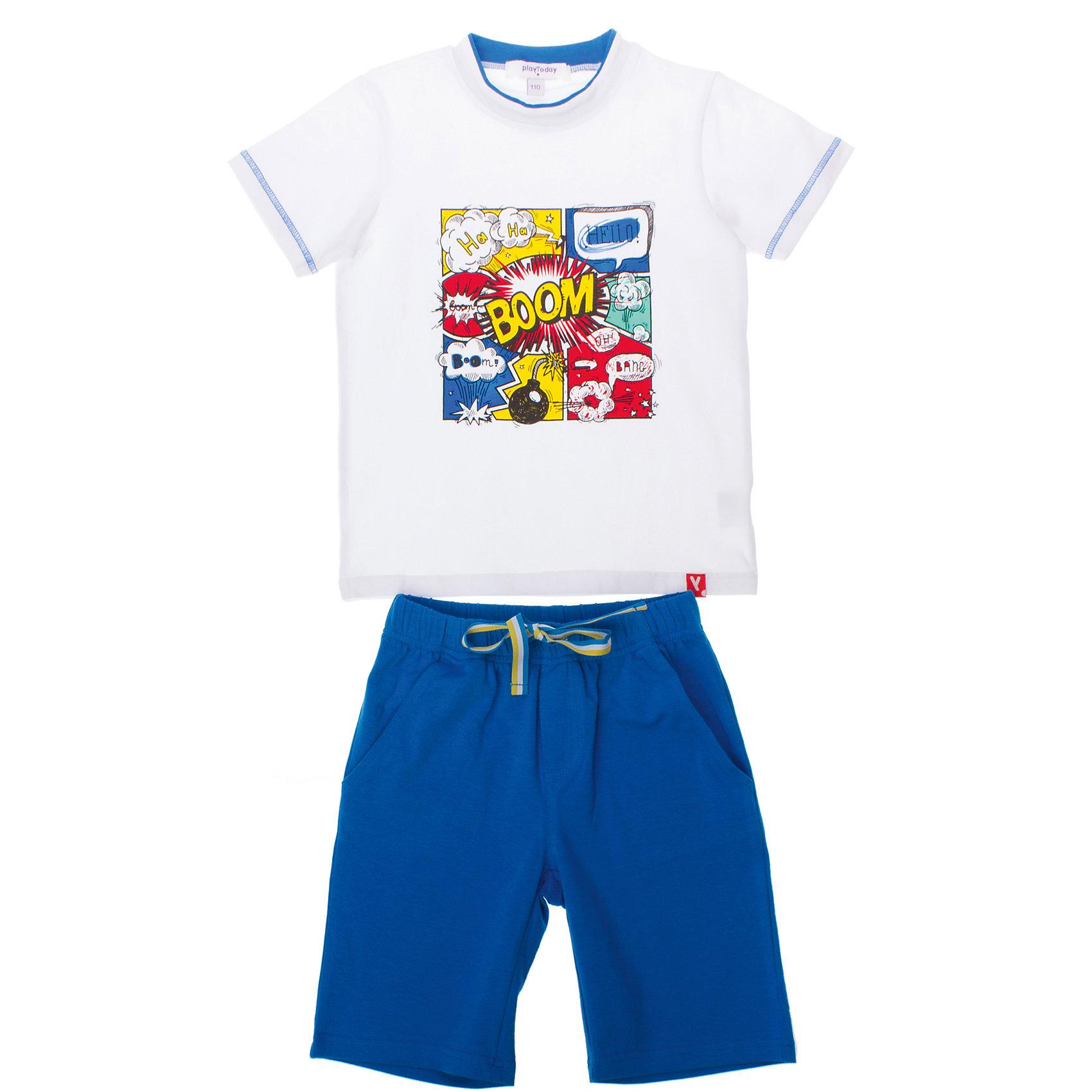 Комплект: футболка и шорты для мальчика PlayTodayКомплект: футболка и шорты для мальчика PlayToday <br><br>Состав: 95% хлопок, 5% эластан <br><br>Футболка: <br>Воротник на мягкой трикотажной резинке<br>Украшена водным принтом<br>На рукавах строчка голубого цвета<br>Шорты:<br>Удлиненные <br>Пояс на резинке<br>Дополнительно регулируются шнурком<br><br>Ширина мм: 199<br>Глубина мм: 10<br>Высота мм: 161<br>Вес г: 151<br>Цвет: разноцветный<br>Возраст от месяцев: 36<br>Возраст до месяцев: 48<br>Пол: Мужской<br>Возраст: Детский<br>Размер: 98,110,104,116,122,128<br>SKU: 4504153
