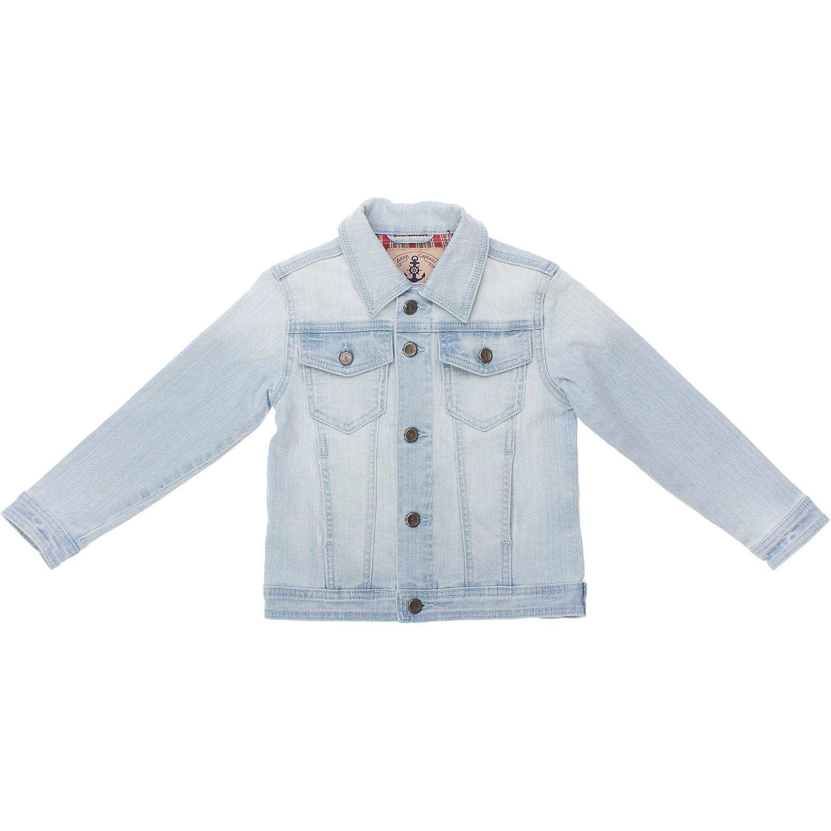 Джинсовая куртка для мальчика PlayTodayДжинсовая одежда<br>Куртка для мальчика PlayToday <br><br>Состав: 90% хлопок, 8% вискоза, 2% эластан <br><br>Классическая голубая джинса<br>Застегивается на металлические пуговки с якорями<br>На груди 2 кармана на пуговках<br><br>Ширина мм: 356<br>Глубина мм: 10<br>Высота мм: 245<br>Вес г: 519<br>Цвет: разноцветный<br>Возраст от месяцев: 72<br>Возраст до месяцев: 84<br>Пол: Мужской<br>Возраст: Детский<br>Размер: 116,110,98,104,128,122<br>SKU: 4504187