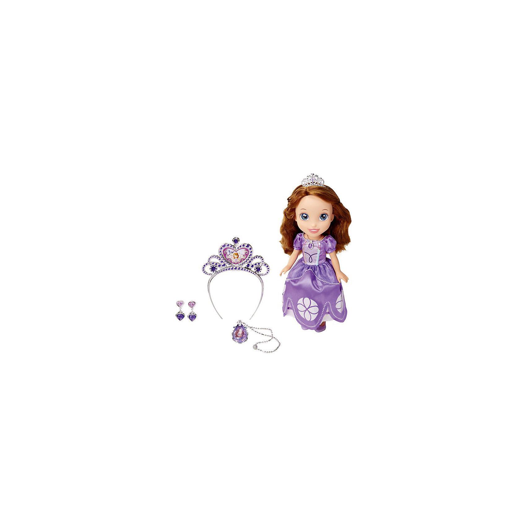 Кукла София, с аксессуарами, 37 см, София Прекрасная, Принцессы ДиснейКлассические куклы<br>Кукла София, с украшениями, 37 см, София Прекрасная, Принцессы Дисней - эта кукла приведет в восторг поклонниц София Прекрасная.<br>Кукла София приведет в восторг вашу малышку и не позволит ей скучать. Кукла изготовлена из прочного безопасного пластика и отличается высоким качеством исполнения. Благодаря ее добрым глазкам и задорной улыбке, вам непременно захочется улыбнуться ей в ответ. Глаза куклы выполнены с помощью специальных силиконовых линз, благодаря чему взгляд становится более глубоким и выразительным. София одета в роскошное бальное платье лавандового цвета, украшенное блестками и бусинками. На ногах туфельки - лавандового цвета. На голове у принцессы серебристая диадема. Девочке понравятся ее шелковистые каштановые волосы, их так весело заплетать и расчесывать. Также в комплект входят украшения для девочки - королевская тиара, серьги и подвеска, оформленные в неповторимом стиле принцессы Софии. Кукла София подарит девочке неограниченный простор для фантазии и игр, малышка сможет часами играть с ней, придумывая различные истории и разыгрывая сцены из мультфильма.<br><br>Дополнительная информация:<br><br>- В комплекте: кукла, тиара, амулет, браслет, туфельки для куклы, украшения для девочки (тиара, серьги и подвеска)<br>- Высота: 37 см.<br>- Материалы: пластик, текстиль<br><br>Куклу София, с аксессуарами, 37 см, София Прекрасная, Принцессы Дисней можно купить в нашем интернет-магазине.<br><br>Ширина мм: 410<br>Глубина мм: 400<br>Высота мм: 120<br>Вес г: 1260<br>Возраст от месяцев: 36<br>Возраст до месяцев: 144<br>Пол: Женский<br>Возраст: Детский<br>SKU: 4505043