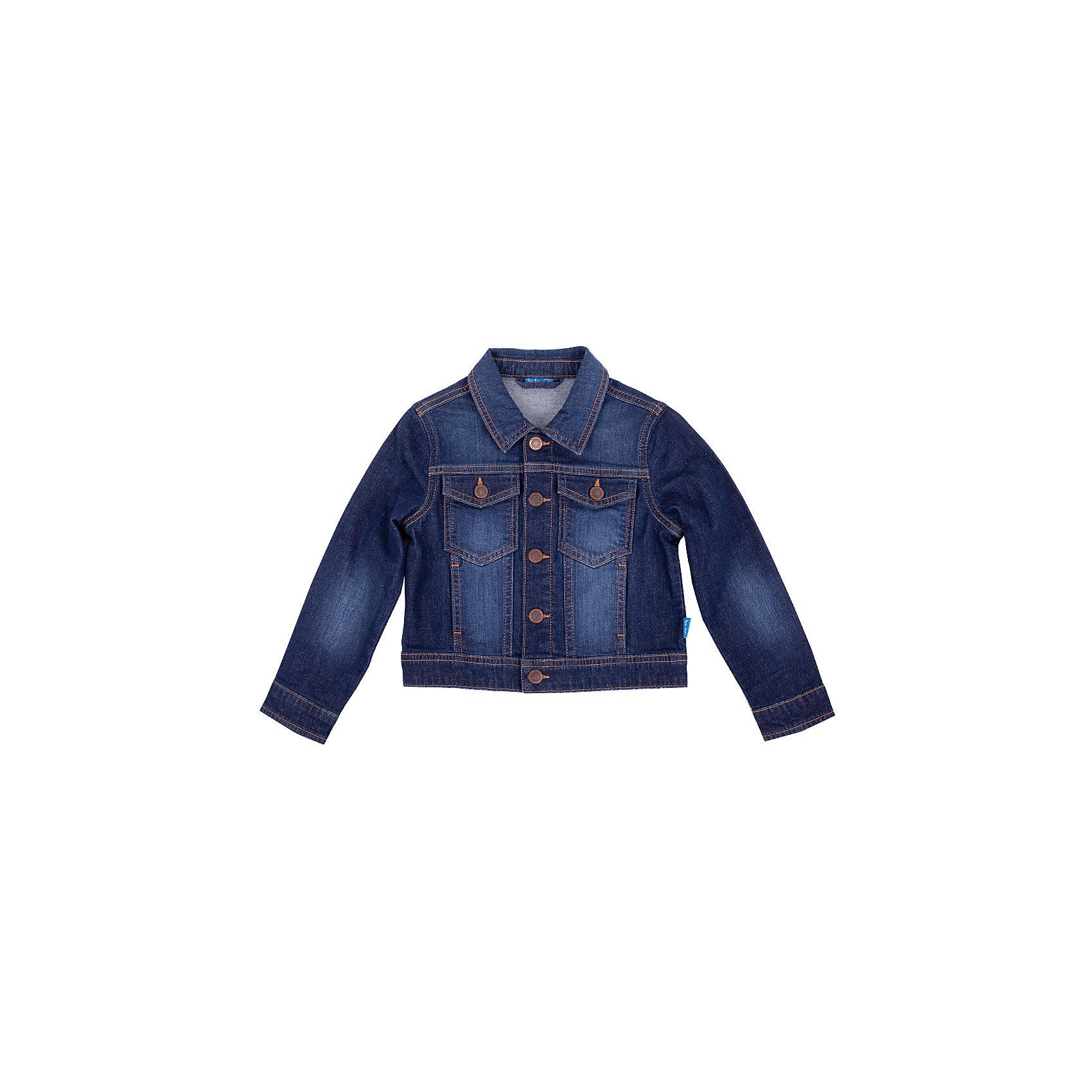 Джинсовая куртка для мальчика Button BlueВерхняя одежда<br>Джинсовая куртка для мальчика - базовая вещь весеннего-летнего гардероба! Она отлично сочетается с брюками, шортами, бриджами, делая комплект интересным и завершенным. Вы хотите, чтобы ваш ребенок был в тренде? Вы предпочитаете купить джинсовую куртку недорого и не сомневаться в ее качестве и комфорте? Тогда джинсовая куртка от Button Blue для вас!<br>Состав:<br>98,6% хлопок, 1,4% эластан<br><br>Ширина мм: 356<br>Глубина мм: 10<br>Высота мм: 245<br>Вес г: 519<br>Цвет: синий<br>Возраст от месяцев: 36<br>Возраст до месяцев: 48<br>Пол: Мужской<br>Возраст: Детский<br>Размер: 104,128,152,98,140,146,122,134,116,110,158<br>SKU: 4510302
