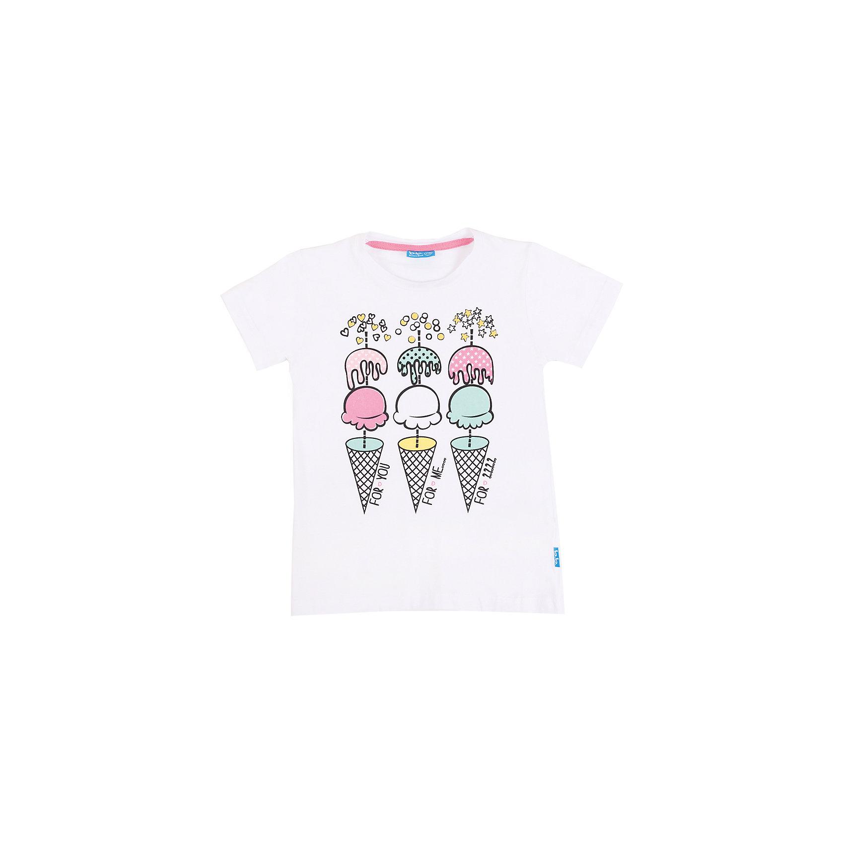 Футболка для девочки Button BlueБелая футболка с ярким принтом - не просто базовая вещь в гардеробе ребенка, а залог хорошего летнего настроения! Отличное качество и доступная цена прилагаются. Если вы решили купить недорогую белую футболку для девочки, выберете модель футболки с оригинальным принтом, и ваш ребенок будет доволен!<br>Состав:<br>95% хлопок           5% эластан<br><br>Ширина мм: 199<br>Глубина мм: 10<br>Высота мм: 161<br>Вес г: 151<br>Цвет: белый<br>Возраст от месяцев: 60<br>Возраст до месяцев: 72<br>Пол: Женский<br>Возраст: Детский<br>Размер: 146,116,158,104,98,110,140,128,152,134,122<br>SKU: 4510509
