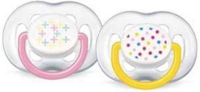 PHILIPS AVENT Силиконовая пустышка Free Flow Design, от 6-18 мес., 2 шт., AVENT, розовый/желтый