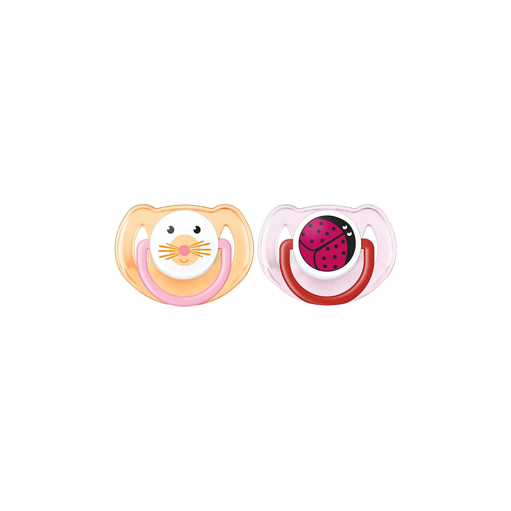 Силиконовая пустышка Домашние животные, 6-18 мес., 2 шт., AVENT, оранжевый/розовыйОртодонтические симитричные мягкие соски  от AVENT Philips серии Домашние животные, 6-18 мес  (уп.2шт) c различными изображениями животных наверняка порадуют вашего малыша.<br><br>Дополнительная информация: <br>- Удобные силиконовые соски без запаха и вкуса<br>- Безопасность: предохранительное кольцо-держатель позволяет с легкостью вынуть пустышку в любой момент<br>- Гигиеничность: защелкивающийся защитный колпачок <br>- Можно стерилизовать<br>- Можно мыть в посудомоечной машине<br>- Рекомендуемый возраст: 6-18 мес. <br>- Рисунок: кошка/божья коровка<br> <br>В комплект входит: <br>- Силиконовая соска: 2 шт. <br>- Защелкивающийся защитный колпачок: 2 шт. <br><br>Силиконовую пустышку Домашние животные, 6-18 мес., 2 шт., AVENT можно купить в нашем интернет-магазине.<br><br>Ширина мм: 50<br>Глубина мм: 100<br>Высота мм: 100<br>Вес г: 63<br>Возраст от месяцев: 6<br>Возраст до месяцев: 18<br>Пол: Унисекс<br>Возраст: Детский<br>SKU: 4510857