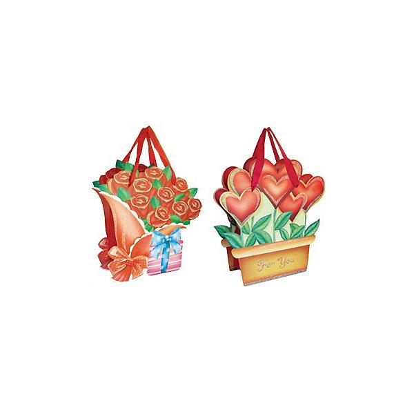Подарочный пакет Цветы 15*17,8*8,5 см, в ассортименте
