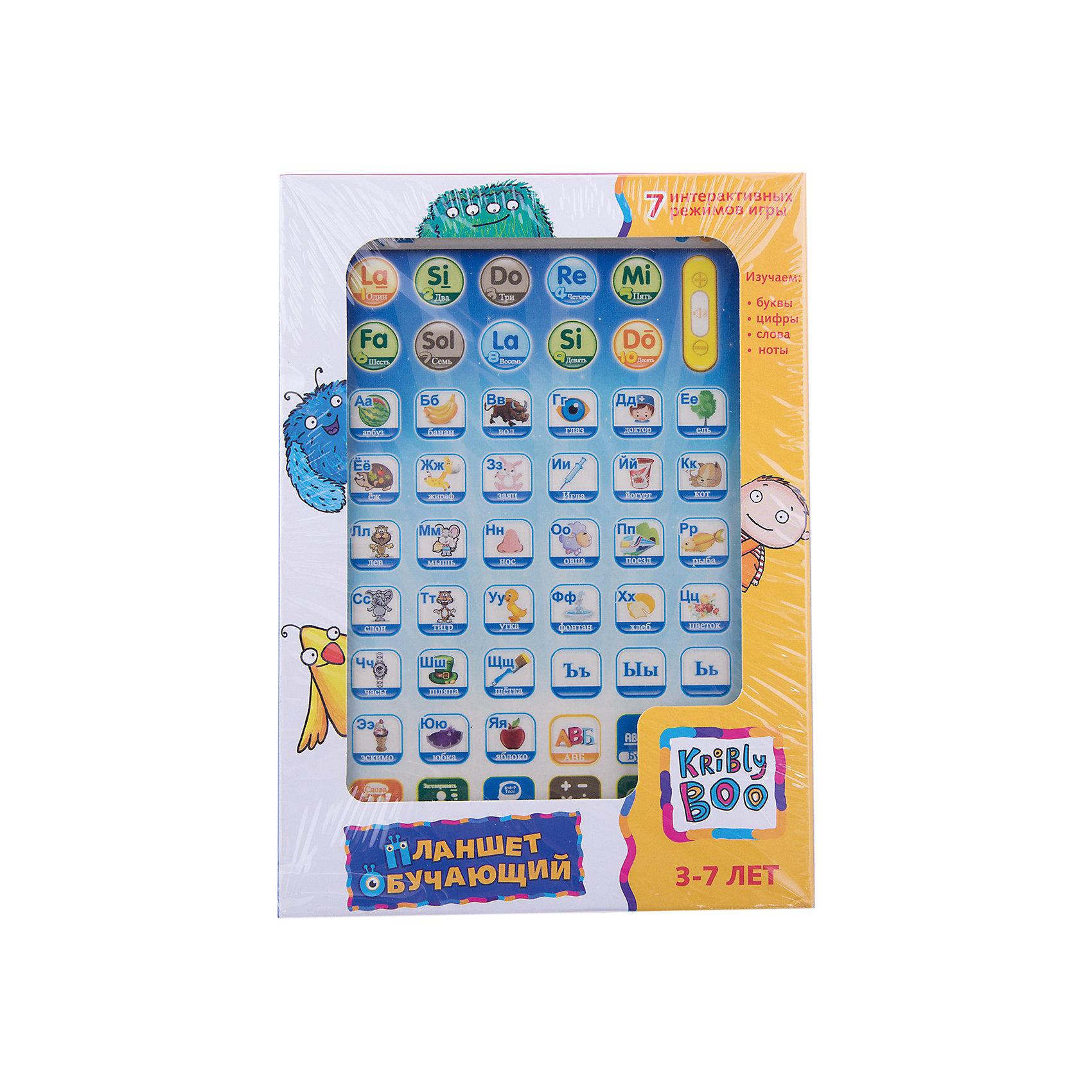 Обучающий планшет 8, Kribly BooИнтерактивные игрушки для малышей<br>Дети обожают гаджеты и новые технологии.  С помощью этого простого и понятного планшета малыш сможет получить первоначальные навыки о цифрах и счете, буквах, нотах, развить внимание и память, делая это в игровой, интересной форме. Планшет включает в себя 7 режимов игры: изучение очередности букв в алфавите, изучение отдельных букв, изучение цифр, изучение слов,<br>экзамен, тест на сложение и вычитание, изучение нот. Режимы Тест и Математика  учат ребенка сосредотачиваться на предложенных заданиях, формируют психологическую готовность к школьному обучению. <br><br>Дополнительная информация:<br><br>- Материал: пластик, металл.<br>- Размер упаковки: 13х18х2,5 см.<br>- Звуковые эффекты.<br>- Регулировка звука. <br>- Элемент питания: 3 АА батарейки (не входят в комплект).<br>- 7 режимов. <br>- Язык: русский.<br><br>Обучающий планшет 8, Kribly Boo (Крибли Бу), можно купить в нашем магазине.<br><br>Ширина мм: 180<br>Глубина мм: 130<br>Высота мм: 25<br>Вес г: 226<br>Возраст от месяцев: 36<br>Возраст до месяцев: 84<br>Пол: Унисекс<br>Возраст: Детский<br>SKU: 4515331