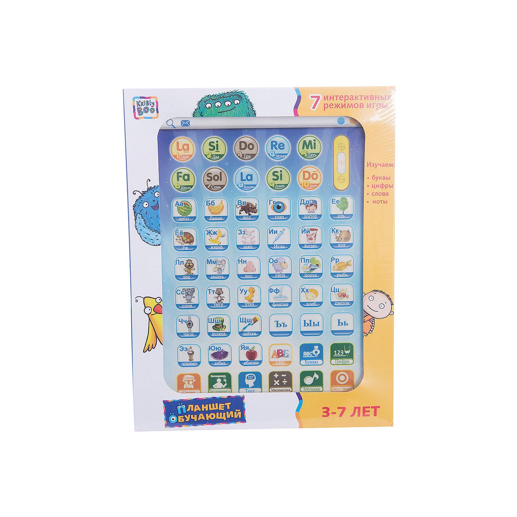 Обучающий планшет 11, Kribly BooДетская электроника<br>Дети обожают гаджеты и новые технологии.  С помощью этого простого и понятного планшета малыш сможет получить первоначальные навыки о цифрах и буквах, развить внимание и память, делая это в игровой, интересной форме. Планшет включает в себя 6 режимов игры: буквы и цифры, слова, правописание, проверка знания букв, проверка знания цифр, музыка.<br><br>Дополнительная информация:<br><br>- Материал: пластик, металл.<br>- Размер игрушки: 24х18х3 см.<br>- Звуковые эффекты.<br>- Регулировка звука. <br>- Элемент питания: 3 АА батарейки (не входят в комплект).<br>- 6 режимов. <br>- Язык: русский.<br><br>Обучающий планшет 11, Kribly Boo (Крибли Бу), можно купить в нашем магазине.<br><br>Ширина мм: 240<br>Глубина мм: 185<br>Высота мм: 25<br>Вес г: 313<br>Возраст от месяцев: 36<br>Возраст до месяцев: 84<br>Пол: Унисекс<br>Возраст: Детский<br>SKU: 4515333