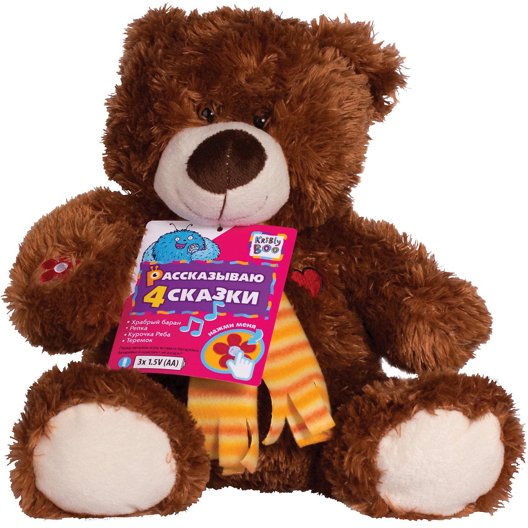 Интерактивная игрушка Шоколадный Мишка, 28 см, Kribly BooИнтерактивные игрушки для малышей<br>Очаровательный медвежонок расскажет малышам сказки и поможет развить словарный запас, память и внимательность. Для того, чтобы мишка рассказал сказку, нужно нажать на вышивку сердечка на груди или на один из вышитых на лапках цветочков. Сказки озвучены профессиональными актерами. Игрушка выполнена из высококачественных материалов, очень приятна на ощупь, абсолютно безопасна для детей. Милый Шоколадный Мишка приведет в восторг любого малыша и станет прекрасным подарком на любой праздник! <br><br>Дополнительная информация:<br><br>- Материал: текстиль, искусственный мех, пластик. <br>- Размер: 28 см.<br>- 4 сказки: «Курочка Ряба», «Репка», «Теремок» и «Храбрый баран». <br>- Элемент питания: 3 АА батарейки (не входят в комплект).<br><br>Интерактивную игрушку Шоколадный Мишка, 28 см, Kribly Boo (Крибли Бу) можно купить в нашем магазине.<br><br>Ширина мм: 280<br>Глубина мм: 140<br>Высота мм: 260<br>Вес г: 375<br>Возраст от месяцев: 36<br>Возраст до месяцев: 84<br>Пол: Унисекс<br>Возраст: Детский<br>SKU: 4515336