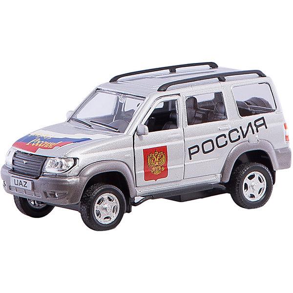 Машина УАЗ Вперед Россия!, 1:43Машинки<br>Машина UAZ PATRIOT - коллекционная модель, являющая копией настоящего автомобиля, сделанной в масштабе 1:43. Машинка станет прекрасным подарком всем юным автолюбителям и займет достойное место в любой коллекции автомобилей. Игрушка имеет инерционный механизм и открывающиеся двери, выполнена из высококачественных прочных безопасных материалов. <br><br>Дополнительная информация:<br><br>- Материал: пластик, металл.<br>- Масштаб: 1:43.<br>- Колеса подвижные.<br>- Двери открываются.<br>- Инерционный механизм. <br><br>Машину УАЗ Вперед Россия!, 1:43, можно купить в нашем магазине.<br><br>Ширина мм: 165<br>Глубина мм: 57<br>Высота мм: 72<br>Вес г: 163<br>Возраст от месяцев: 36<br>Возраст до месяцев: 84<br>Пол: Мужской<br>Возраст: Детский<br>SKU: 4515342