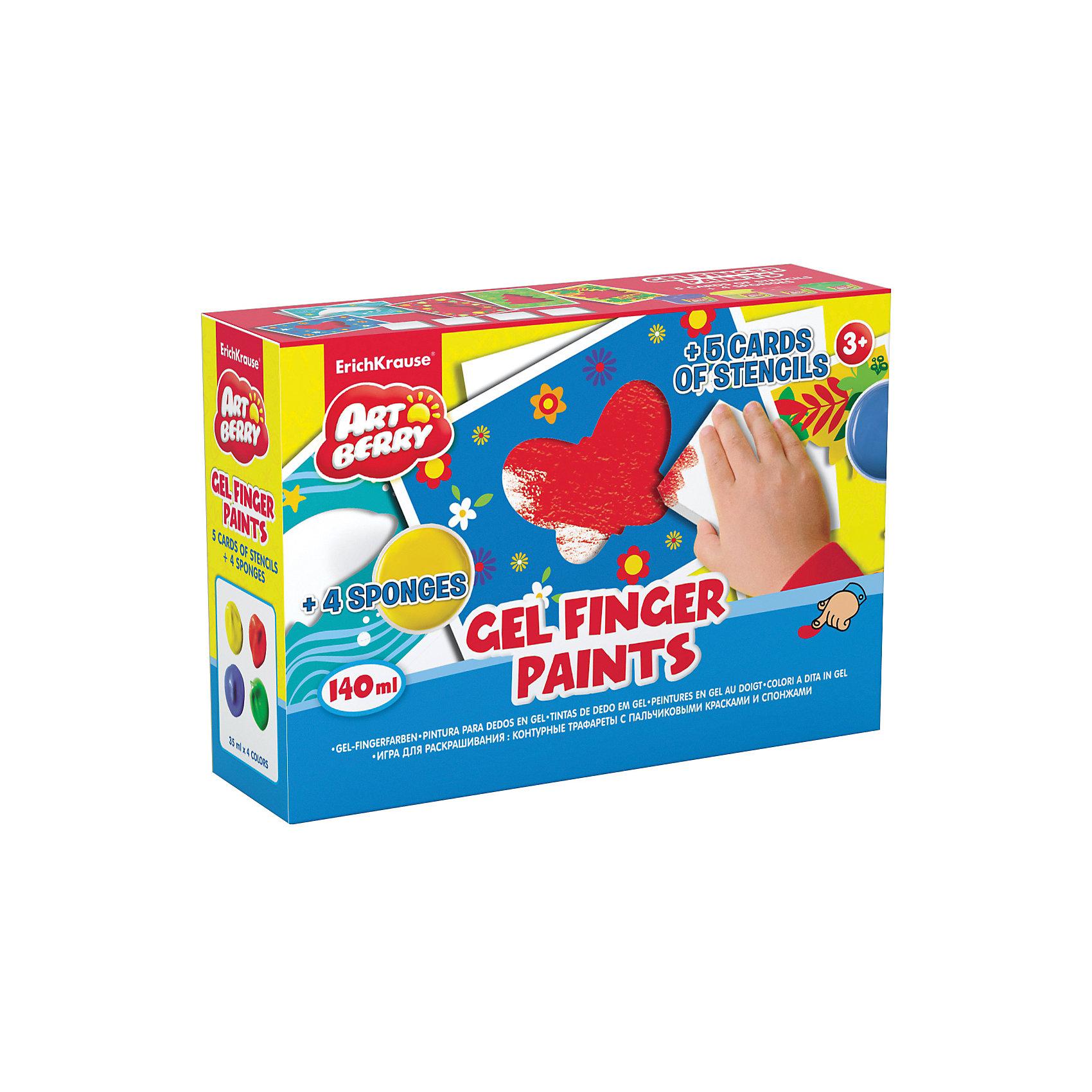 Пальчиковые краски с трафаретами и спонжами, ArtberryДетские трафареты<br>Характеристики пальчиковых красок с трафаретами и спонжами, Artberry:<br><br>• возраст: от 3 лет<br>• пол: для мальчиков и девочек<br>• материал: картон, пластик, краска.<br>• размер упаковки: 13.5x19.5x5.6 см.<br>• упаковка: картонная коробка.<br>• бренд: Erich Krause<br>• страна обладатель бренда: Россия.<br><br>Пальчиковые краски Artberry - отличный набор для юных художников. Предназначается для мальчиков и девочек старше трех лет. Дети, обожающие рисовать, будут очень рады такому набору, так как в комплект входят четыре цвета красок, цветные контурные трафареты с различными изображениями и спонжи, что делает процесс рисования проще и интереснее.<br><br>Пальчиковые краски с трафаретами и спонжами, Artberry торговой марки Erich Krause можно купить в нашем интернет-магазине.<br><br>Ширина мм: 195<br>Глубина мм: 50<br>Высота мм: 135<br>Вес г: 950<br>Возраст от месяцев: 24<br>Возраст до месяцев: 120<br>Пол: Унисекс<br>Возраст: Детский<br>SKU: 4516981