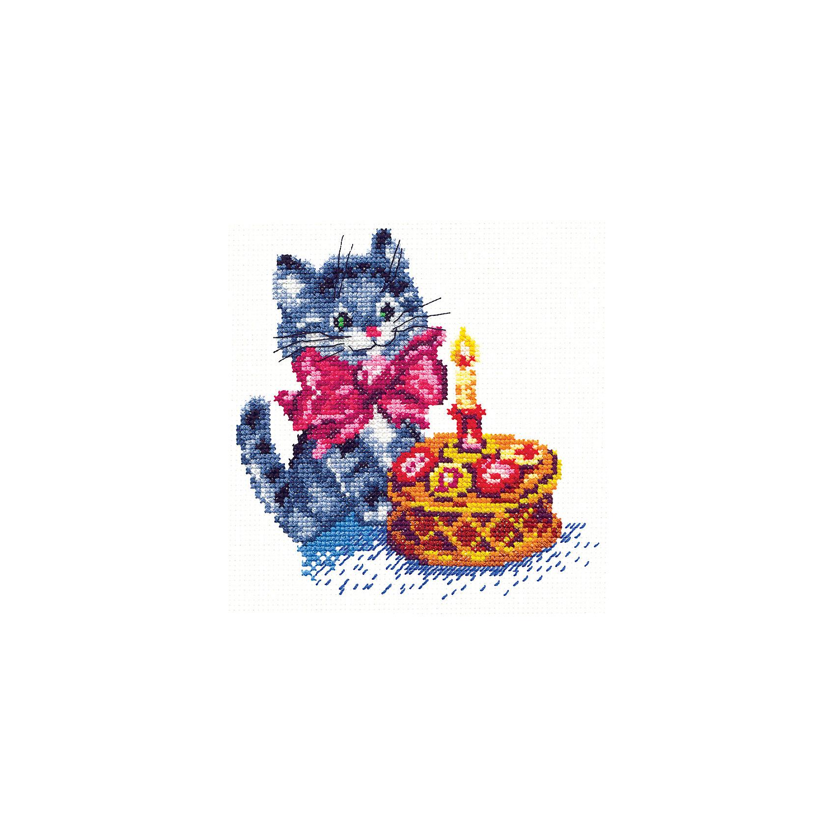 Набор для вышивания крестом «День рождения»Набор для вышивания крестом «День рождения» – это отличный подарок для маленьких рукодельниц!<br>Набор для вышивания крестом «День рождения», несомненно, доставит удовольствие каждому ребенку. Вышивание - очень увлекательное занятие. Простота исполнения основного элемента (крестика) позволит даже начинающему любителю рукоделия достичь потрясающего результата. На вышивке изображен прекрасный сюжет из детской серии – очаровательный котенок с бантиком на шее празднует свой первый день рождения. Схема вышивки детально проработана. Набор порадует вас насыщенными красками, идеально подобранными нитками, а также канвой, которая имеет равномерную структуру, образующую отчетливые квадратики и отверстия в углах этих квадратов, облегчающие проведение иглы и весь процесс вышивки. А законченная вышивка прекрасно украсит любой интерьер, создаст уютную атмосферу в доме или станет самым ценным для друзей и знакомых. Вышивание крестиком поможет ребенку научиться пользоваться инструментами для шитья и поспособствует развитию творческих способностей.<br><br>Дополнительная информация:<br><br>- В наборе: нитки мулине 18 цветов; игла для вышивания №24; канва Аида 14, белого цвета (без рисунка); цветная схема для вышивания; краткая инструкция на русском языке<br>- Мулине: 100% хлопок<br>- Канва Аида 14: 100% хлопок, 55 клеточек на 10 см.<br>- Размер готового изделия: 14 х 14 см.<br>- Техника: счетный крест<br>- Сложность: низкая<br><br>Набор для вышивания крестом «День рождения» можно купить в нашем интернет-магазине.<br><br>Ширина мм: 250<br>Глубина мм: 150<br>Высота мм: 50<br>Вес г: 33<br>Возраст от месяцев: 84<br>Возраст до месяцев: 168<br>Пол: Женский<br>Возраст: Детский<br>SKU: 4518008