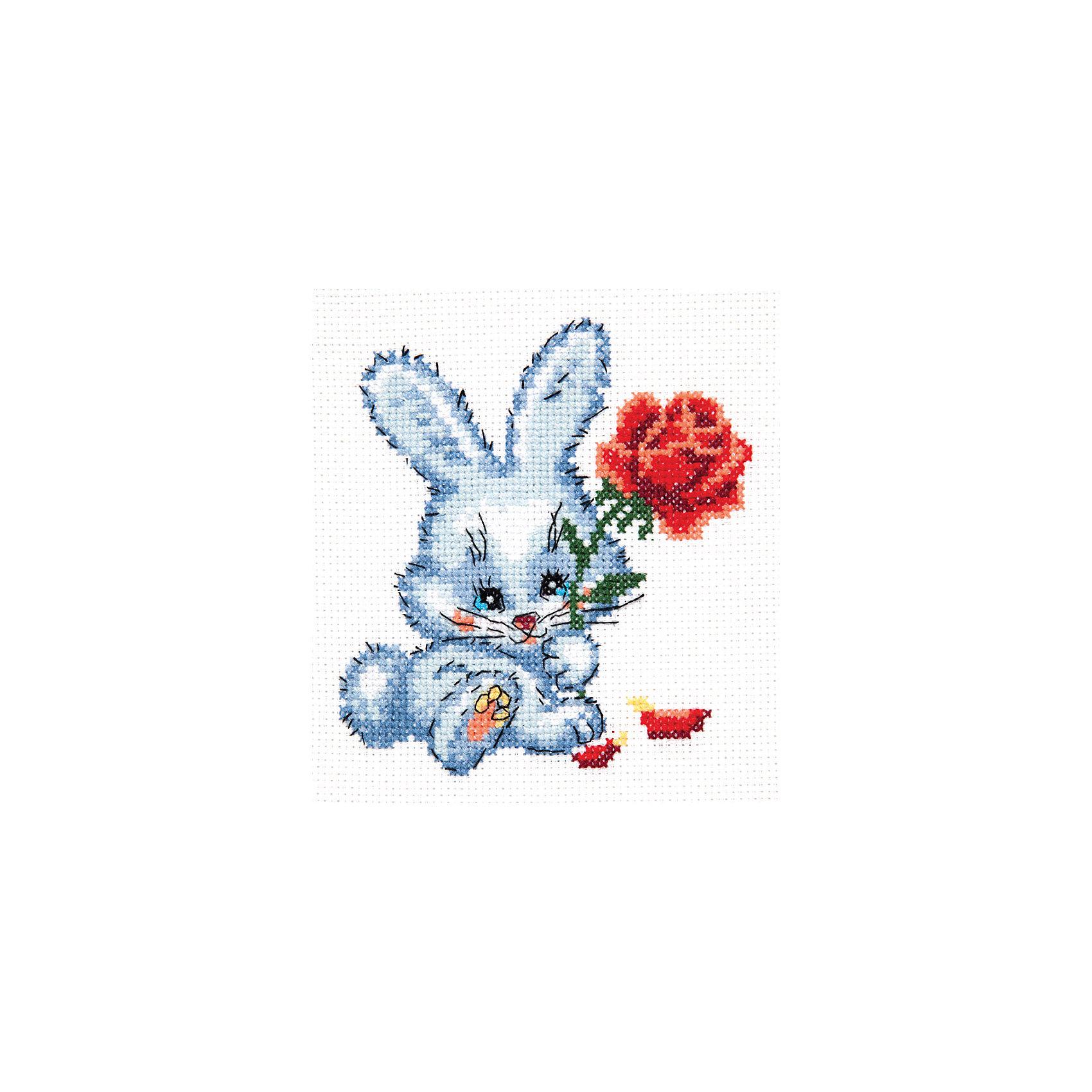 Набор для вышивания крестом «Зайчишка»Набор для вышивания крестом «Зайчишка» – это отличный подарок для маленьких рукодельниц!<br>Набор для вышивания крестом «Зайчишка», несомненно, доставит удовольствие каждому ребенку. Вышивание - очень увлекательное занятие. Простота исполнения основного элемента (крестика) позволит даже начинающему любителю рукоделия достичь потрясающего результата. На вышивке изображен зайчишка с большими ушками, который держит в лапках красивую красную розу. Схема вышивки детально проработана. Набор порадует вас насыщенными красками, идеально подобранными нитками, а также канвой, которая имеет равномерную структуру, образующую отчетливые квадратики и отверстия в углах этих квадратов, облегчающие проведение иглы и весь процесс вышивки. А законченная вышивка прекрасно украсит любой интерьер, создаст уютную атмосферу в доме или станет самым ценным для друзей и знакомых. Вышивание крестиком поможет ребенку научиться пользоваться инструментами для шитья и поспособствует развитию творческих способностей.<br><br>Дополнительная информация:<br><br>- В наборе: нитки мулине 11 цветов; игла для вышивания №24; канва Аида 14, белого цвета (без рисунка); цветная схема для вышивания; краткая инструкция на русском языке<br>- Мулине: 100% хлопок<br>- Канва Аида 14: 100% хлопок, 55 клеточек на 10 см.<br>- Размер готового изделия: 11 х 12 см.<br>- Техника: счетный крест<br>- Сложность: низкая<br><br>Набор для вышивания крестом «Зайчишка» можно купить в нашем интернет-магазине.<br><br>Ширина мм: 250<br>Глубина мм: 150<br>Высота мм: 50<br>Вес г: 33<br>Возраст от месяцев: 84<br>Возраст до месяцев: 168<br>Пол: Женский<br>Возраст: Детский<br>SKU: 4518029