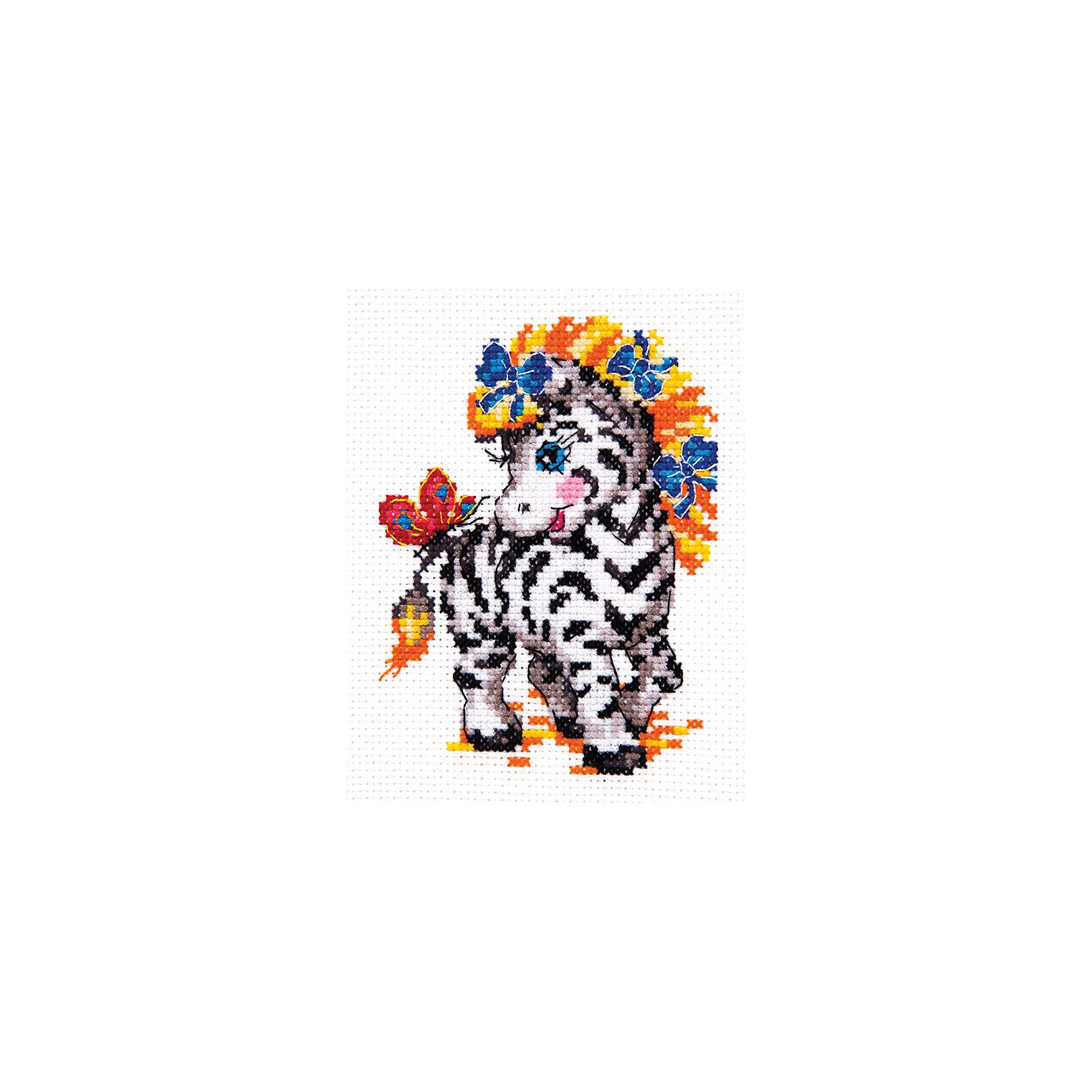 Набор для вышивания крестом «Малышка зебра»Набор для вышивания крестом «Малышка зебра» – это отличный подарок для маленьких рукодельниц!<br>Набор для вышивания крестом «Малышка зебра», несомненно, доставит удовольствие каждому ребенку. Вышивание - очень увлекательное занятие. Простота исполнения основного элемента (крестика) позволит даже начинающему любителю рукоделия достичь потрясающего результата. На вышивке изображена красавица зебра с гривой украшенной бантиками, а на хвосте у зебры сидит яркая бабочка. Схема вышивки детально проработана. Набор порадует вас насыщенными красками, идеально подобранными нитками, а также канвой, которая имеет равномерную структуру, образующую отчетливые квадратики и отверстия в углах этих квадратов, облегчающие проведение иглы и весь процесс вышивки. А законченная вышивка прекрасно украсит любой интерьер, создаст уютную атмосферу в доме или станет самым ценным для друзей и знакомых. Вышивание крестиком поможет ребенку научиться пользоваться инструментами для шитья и поспособствует развитию творческих способностей.<br><br>Дополнительная информация:<br><br>- В наборе: нитки мулине 12 цветов; игла для вышивания №24; канва Аида 14, белого цвета (без рисунка); цветная схема для вышивания; краткая инструкция на русском языке<br>- Мулине: 100% хлопок<br>- Канва Аида 14: 100% хлопок, 55 клеточек на 10 см.<br>- Размер готового изделия: 9 х 12 см.<br>- Техника: счетный крест<br>- Сложность: низкая<br><br>Набор для вышивания крестом «Малышка зебра» можно купить в нашем интернет-магазине.<br><br>Ширина мм: 250<br>Глубина мм: 150<br>Высота мм: 50<br>Вес г: 33<br>Возраст от месяцев: 84<br>Возраст до месяцев: 168<br>Пол: Женский<br>Возраст: Детский<br>SKU: 4518033
