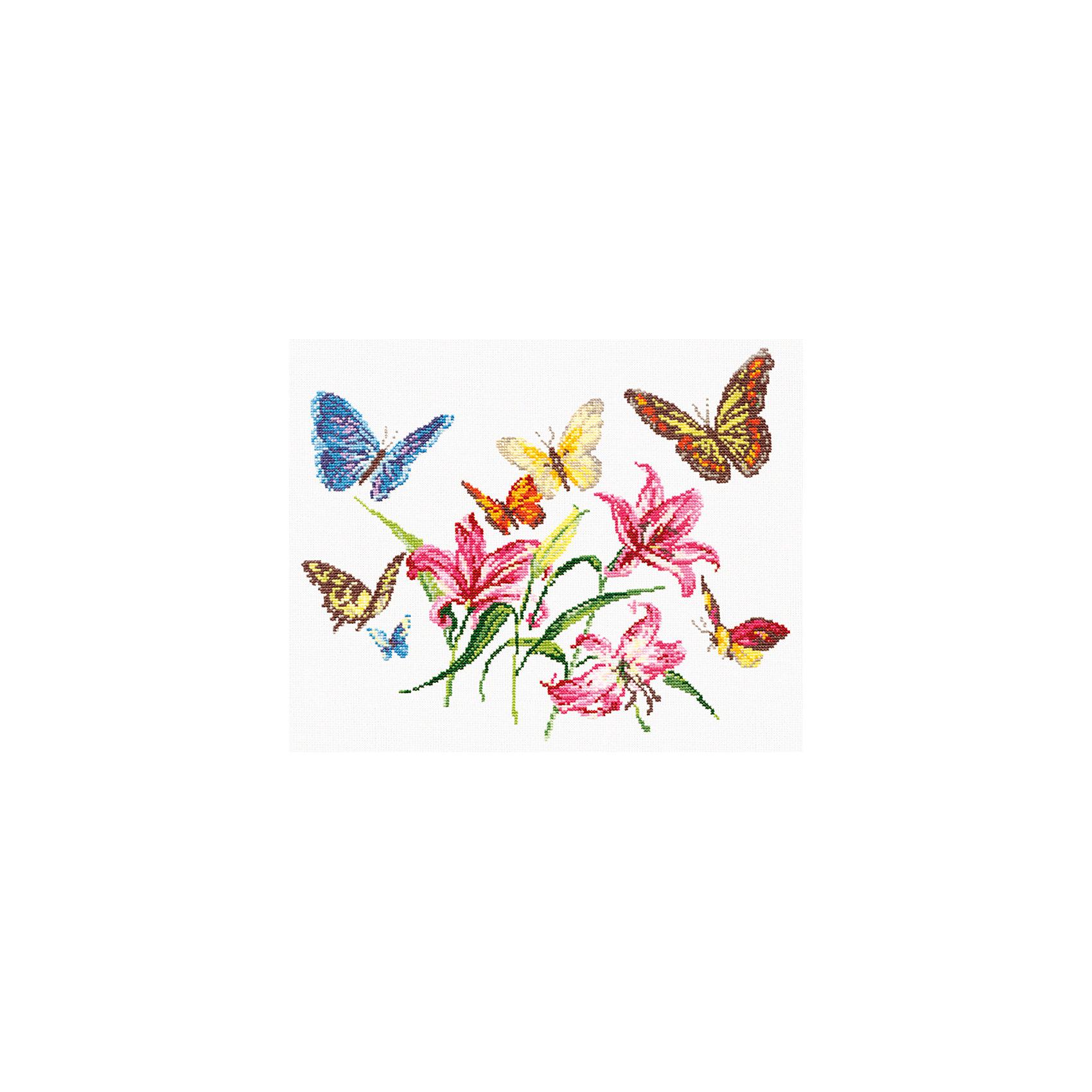 Набор для вышивания крестом «Лилии и бабочки»Набор для вышивания крестом «Лилии и бабочки» – это отличный подарок для маленьких рукодельниц!<br>Набор для вышивания крестом «Лилии и бабочки», несомненно, доставит удовольствие каждому ребенку. Вышивание - очень увлекательное занятие. Простота исполнения основного элемента (крестика) позволит даже начинающему любителю рукоделия достичь потрясающего результата. На вышивке изображены красивые бабочки, которые порхаю среди лилий. Схема вышивки детально проработана. Набор порадует вас насыщенными красками, идеально подобранными нитками, а также канвой, которая имеет равномерную структуру, образующую отчетливые квадратики и отверстия в углах этих квадратов, облегчающие проведение иглы и весь процесс вышивки. А законченная вышивка прекрасно украсит любой интерьер, создаст уютную атмосферу в доме или станет самым ценным для друзей и знакомых. Вышивание крестиком поможет ребенку научиться пользоваться инструментами для шитья и поспособствует развитию творческих способностей.<br><br>Дополнительная информация:<br><br>- В наборе: нитки мулине 23 цвета; игла для вышивания №24; канва Аида 14, белого цвета (без рисунка); цветная схема для вышивания; краткая инструкция на русском языке<br>- Мулине: 100% хлопок<br>- Канва Аида 14: 100% хлопок, 55 клеточек на 10 см.<br>- Размер готового изделия: 32 х 26 см.<br>- Техника: счетный крест<br>- Сложность: низкая<br><br>Набор для вышивания крестом «Лилии и бабочки» можно купить в нашем интернет-магазине.<br><br>Ширина мм: 350<br>Глубина мм: 200<br>Высота мм: 50<br>Вес г: 200<br>Возраст от месяцев: 84<br>Возраст до месяцев: 168<br>Пол: Женский<br>Возраст: Детский<br>SKU: 4518084