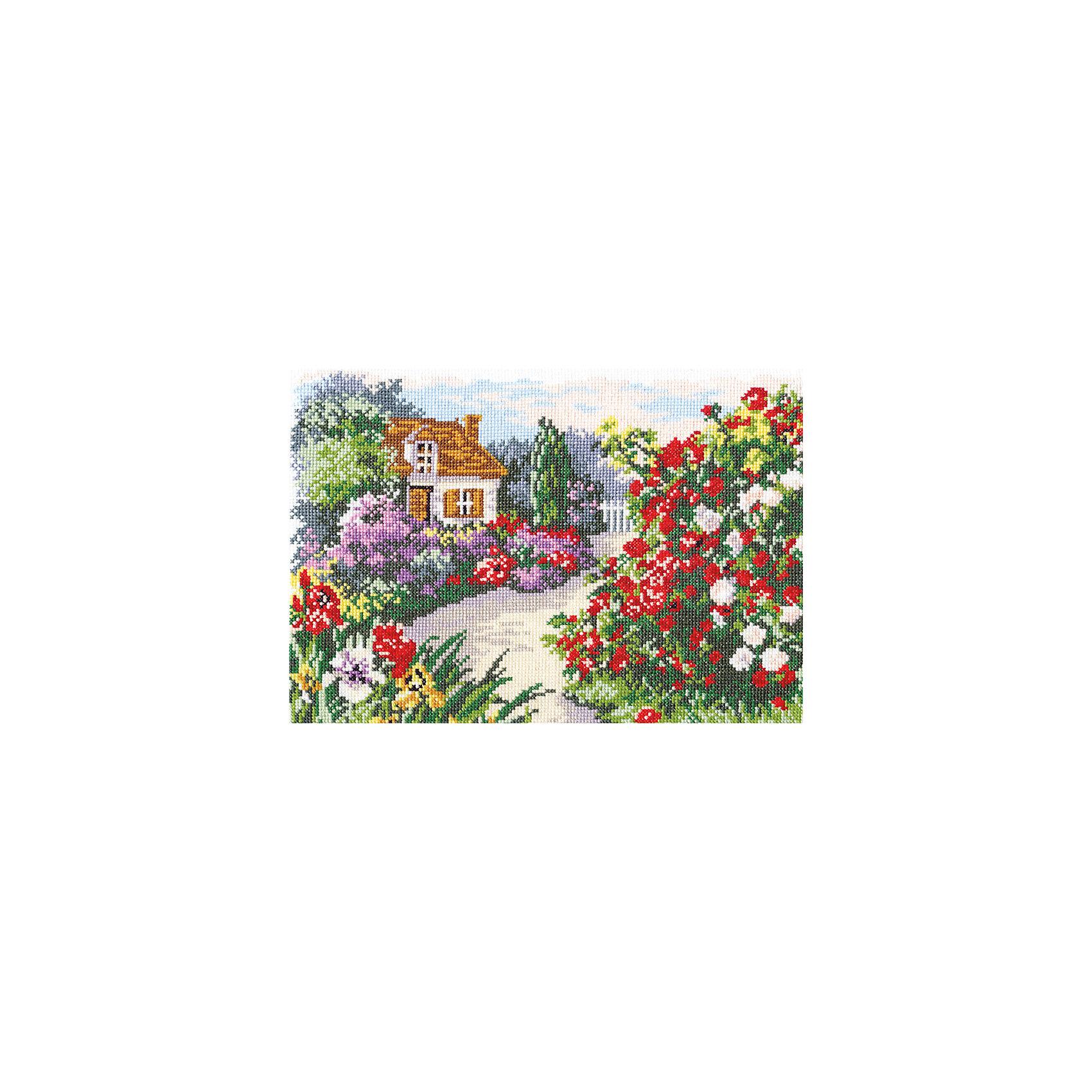 Набор для вышивания крестом «Цветущий сад»Набор для вышивания крестом «Цветущий сад» – это отличный подарок для маленьких рукодельниц!<br>Набор для вышивания крестом «Цветущий сад», несомненно, доставит удовольствие каждому ребенку. Вышивание - очень увлекательное занятие. Простота исполнения основного элемента (крестика) позволит даже начинающему любителю рукоделия достичь потрясающего результата. На вышивке изображен роскошный цветущий сад и очаровательный домик. Схема вышивки детально проработана. Набор порадует вас насыщенными красками, идеально подобранными нитками, а также канвой, которая имеет равномерную структуру, образующую отчетливые квадратики и отверстия в углах этих квадратов, облегчающие проведение иглы и весь процесс вышивки. А законченная вышивка прекрасно украсит любой интерьер, создаст уютную атмосферу в доме или станет самым ценным для друзей и знакомых. Вышивание крестиком поможет ребенку научиться пользоваться инструментами для шитья и поспособствует развитию творческих способностей.<br><br>Дополнительная информация:<br><br>- В наборе: нитки мулине 21 цвет; игла для вышивания №24; канва Аида 14, белого цвета (без рисунка); черно-белая схема для вышивания; краткая инструкция на русском языке<br>- Мулине: 100% хлопок<br>- Канва Аида 14: 100% хлопок, 55 клеточек на 10 см.<br>- Размер готового изделия: 29 х 20 см.<br>- Техника: счетный крест<br>- Сложность: средняя<br><br>Набор для вышивания крестом «Цветущий сад» можно купить в нашем интернет-магазине.<br><br>Ширина мм: 350<br>Глубина мм: 200<br>Высота мм: 50<br>Вес г: 200<br>Возраст от месяцев: 84<br>Возраст до месяцев: 168<br>Пол: Женский<br>Возраст: Детский<br>SKU: 4518088