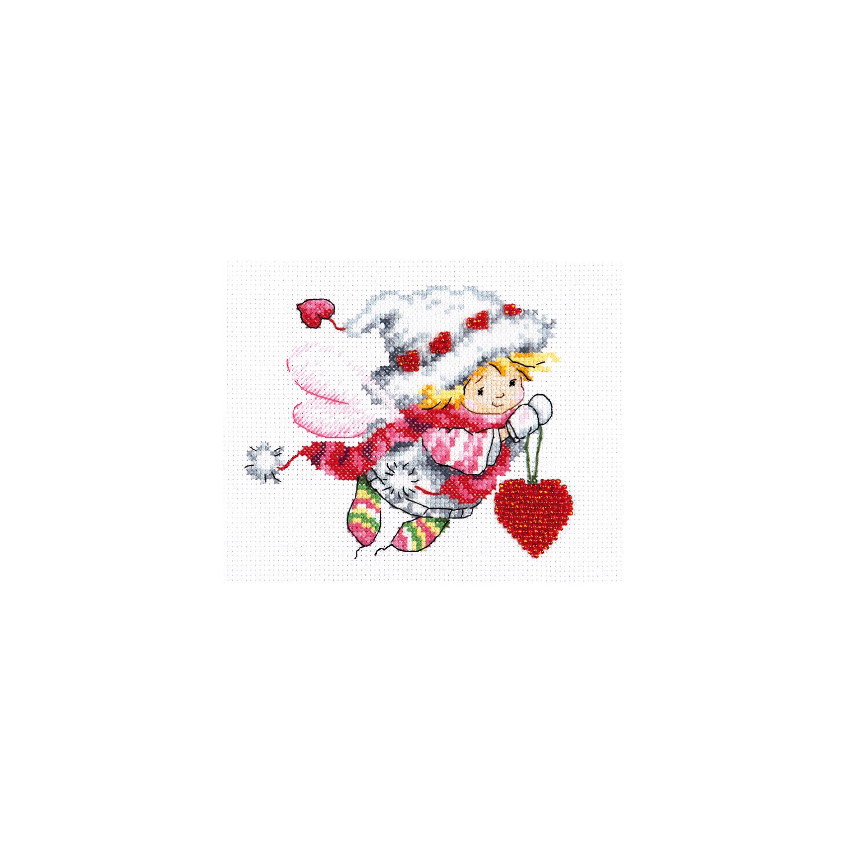 Набор для вышивания крестом «Дорогому сердцу!»Набор для вышивания крестом «Дорогому сердцу!» – это отличный подарок для маленьких рукодельниц!<br>Набор для вышивания крестом «Дорогому сердцу!», несомненно, доставит удовольствие каждому ребенку. Вышивание - очень увлекательное занятие. Простота исполнения основного элемента (крестика) позволит даже начинающему любителю рукоделия достичь потрясающего результата. На вышивке изображен маленький мальчик с розовыми крылышками, который несет в руках красное сердечко. Мальчик одет в теплую шапочку декорированную сердечками и пальто, на ногах - разноцветные носочки.  Сердечки на шапочке и в руке мальчика вышиваются бисером. Схема вышивки детально проработана. Набор порадует вас насыщенными красками, идеально подобранными нитками, а также канвой, которая имеет равномерную структуру, образующую отчетливые квадратики и отверстия в углах этих квадратов, облегчающие проведение иглы и весь процесс вышивки. А законченная вышивка, украсит любой интерьер, создаст уютную атмосферу в доме или станет самым ценным для друзей и знакомых. Вышивание крестиком поможет ребенку научиться пользоваться инструментами для шитья и поспособствует развитию творческих способностей.<br><br>Дополнительная информация:<br><br>- В наборе: нитки мулине 17 цветов; бисер; игла; канва Аида 14, белого цвета (без рисунка); цветная схема для вышивания; краткая инструкция на русском языке<br>- Мулине: 100% хлопок<br>- Канва Аида 14: 100% хлопок, 55 клеточек на 10 см.<br>- Размер готового изделия: 13 х 11 см.<br>- Техника: счетный крест<br>- Сложность: средняя<br><br>Набор для вышивания крестом «Дорогому сердцу!» можно купить в нашем интернет-магазине.<br><br>Ширина мм: 250<br>Глубина мм: 150<br>Высота мм: 50<br>Вес г: 33<br>Возраст от месяцев: 84<br>Возраст до месяцев: 168<br>Пол: Женский<br>Возраст: Детский<br>SKU: 4518099