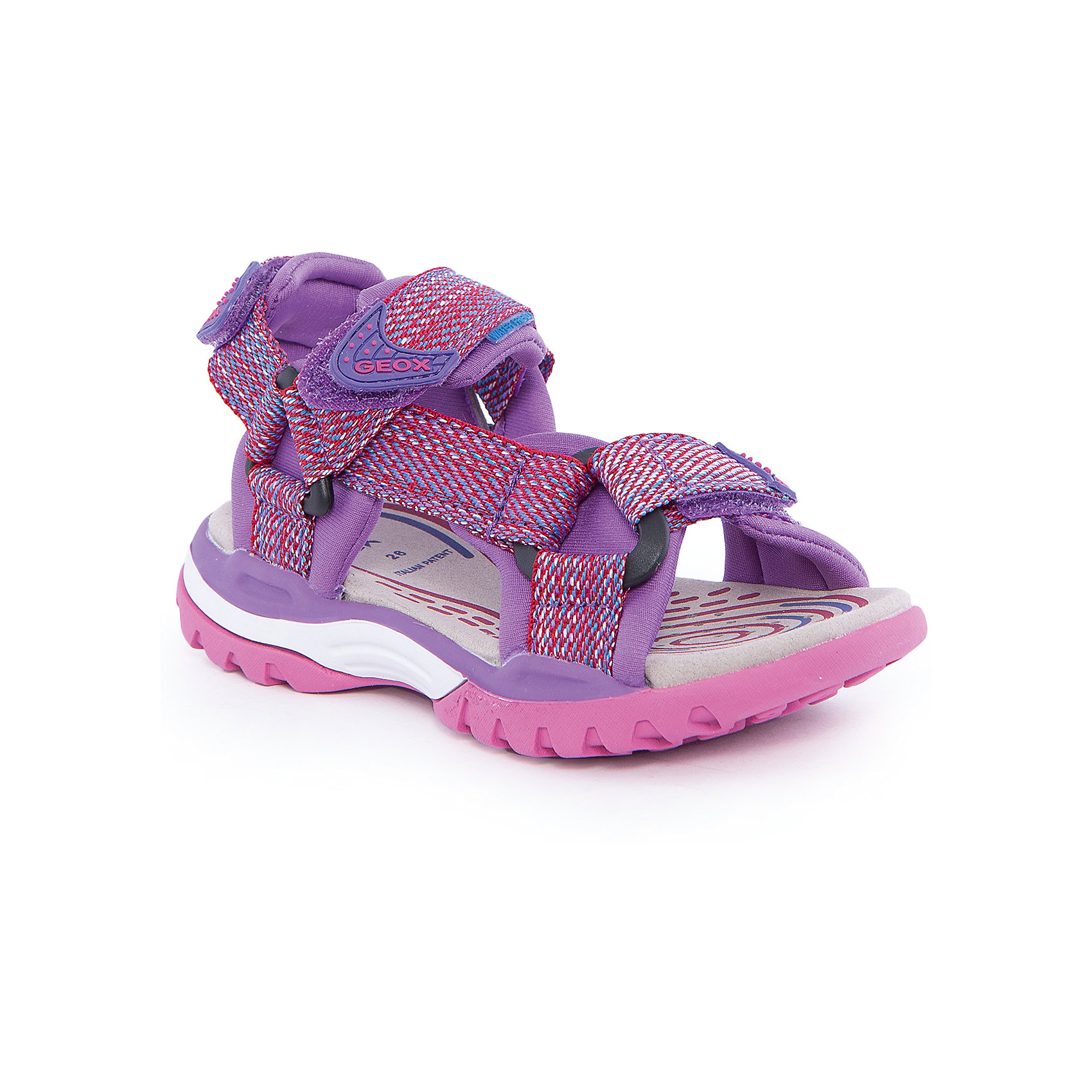 Босоножки для девочки GEOXБосоножки для девочки от популярной марки GEOX (Геокс).<br><br>Модные легкие босоножки - отличная обувь для нового летнего сезона. Эта модель создана специально для девочек, она очень стильно и оригинально смотрится.<br>Производитель обуви заботится не только о внешнем виде, но и стабильно высоком качестве продукции. GEOX (Геокс) разработал специальную высокотехнологичную стельку. Вся обувь делается только из качественных и надежных материалов.<br><br>Отличительные особенности модели:<br><br>- цвет: розовый;<br>- декорирована яркой тесьмой;<br>- гибкая прочная подошва;<br>- мягкий и легкий верх;<br>- защита пальцев;<br>- стильный дизайн;<br>- анатомическая стелька;<br>- удобные застежки - липучки;<br>- комфортное облегание.<br><br>Дополнительная информация:<br><br>- Сезон: весна/лето.<br><br>- Состав:<br><br>материал верха: текстиль;<br>подошва: 100% резина.<br><br>Босоножки для девочки GEOX (Геокс) можно купить в нашем магазине.<br><br>Ширина мм: 219<br>Глубина мм: 154<br>Высота мм: 121<br>Вес г: 343<br>Цвет: розовый<br>Возраст от месяцев: 24<br>Возраст до месяцев: 36<br>Пол: Женский<br>Возраст: Детский<br>Размер: 32,35,31,26,28,36,27,29,30,33,34<br>SKU: 4519041