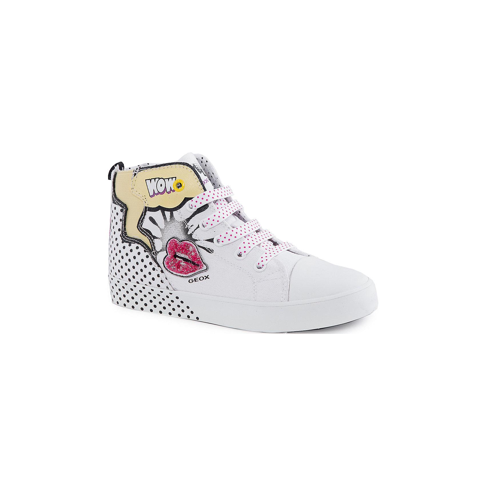 Кеды для девочки GeoxКеды<br>Кеды для девочки от популярной марки GEOX (Геокс).<br><br>Модные легкие Кеды - отличная обувь для нового весеннего сезона. Модель очень стильно и оригинально смотрится.<br>Производитель обуви заботится не только о внешнем виде, но и стабильно высоком качестве продукции. GEOX (Геокс) разработал специальную дышащую подошву, которая не пропускает влагу внутрь, а также высокотехнологичную стельку.<br><br>Отличительные особенности модели:<br><br>- цвет: белый;<br>- декорированы принтом и аппликацией;<br>- гибкая водоотталкивающая подошва с дышащей мембраной;<br>- мягкий и легкий верх;<br>- защита пальцев;<br>- стильный дизайн;<br>- удобная шнуровка и молния;<br>- комфортное облегание;<br>- верх обуви и подкладка сделаны без использования хрома.<br><br>Дополнительная информация:<br><br>- Температурный режим: от +10° С до 25° С.<br><br>- Состав:<br><br>материал верха: текстиль, синтетический материал<br>материал подкладки: текстиль<br>подошва: резина<br><br>Кеды для девочки GEOX (Геокс) (Геокс) можно купить в нашем магазине.<br><br>Ширина мм: 250<br>Глубина мм: 150<br>Высота мм: 150<br>Вес г: 250<br>Цвет: белый<br>Возраст от месяцев: 84<br>Возраст до месяцев: 96<br>Пол: Женский<br>Возраст: Детский<br>Размер: 31,28,34,36,35,33,32,30,29<br>SKU: 4519085