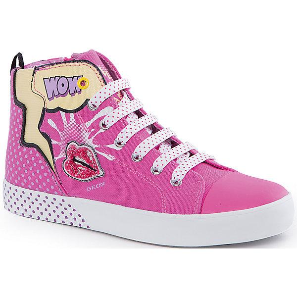 Кеды для девочки GeoxКеды<br>Кеды для девочки от популярной марки GEOX (Геокс).<br><br>Яркие розовые Кеды - отличная обувь для нового весеннего сезона. Модель очень стильно и оригинально смотрится.<br>Производитель обуви заботится не только о внешнем виде, но и стабильно высоком качестве продукции. GEOX (Геокс) разработал специальную дышащую подошву, которая не пропускает влагу внутрь, а также высокотехнологичную стельку.<br><br>Отличительные особенности модели:<br><br>- цвет: розовый;<br>- украшены принтом и аппликацией;<br>- гибкая водоотталкивающая подошва с дышащей мембраной;<br>- мягкий и легкий верх;<br>- защита пальцев;<br>- стильный дизайн;<br>- удобная застежка-молния сбоку, шнуровка;<br>- комфортное облегание;<br>- верх обуви и подкладка сделаны без использования хрома.<br><br>Дополнительная информация:<br><br>- Температурный режим: от +10° С до 25° С.<br><br>- Состав:<br><br>материал верха: текстиль, синтетический материал<br>материал подкладки: текстиль<br>подошва: 100% резина<br><br>Кеды для девочки GEOX (Геокс) (Геокс) можно купить в нашем магазине.<br><br>Ширина мм: 250<br>Глубина мм: 150<br>Высота мм: 150<br>Вес г: 250<br>Цвет: розовый<br>Возраст от месяцев: 84<br>Возраст до месяцев: 96<br>Пол: Женский<br>Возраст: Детский<br>Размер: 31,33,35,28,29,32,34,36,30<br>SKU: 4519095