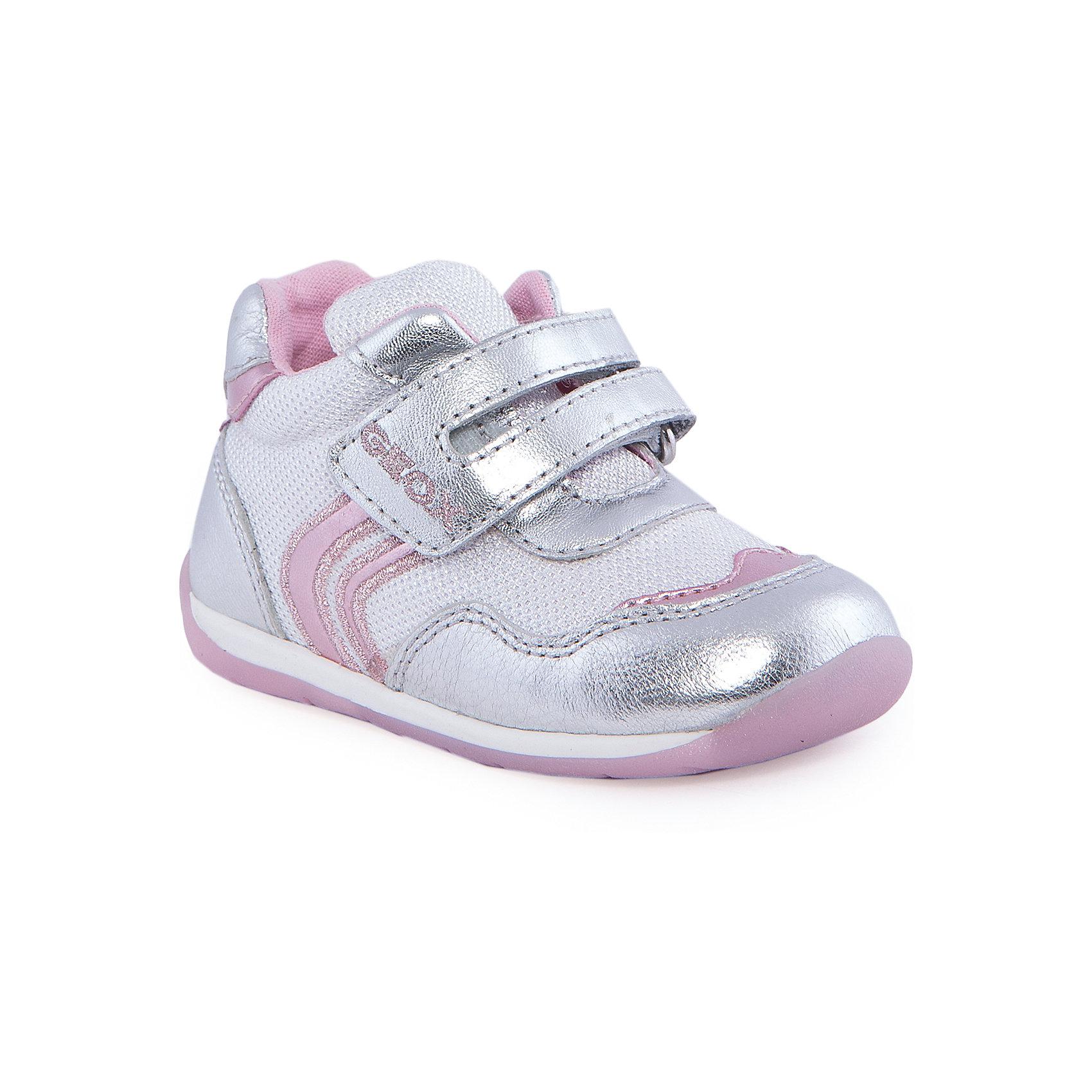 Кроссовки для девочки GEOXБотинки для девочки от популярной марки GEOX (Геокс).<br><br>Блестящие модные ботинки - отличная обувь для нового летнего сезона. Эта модель создана специально для девочек, она очень стильно и оригинально смотрится.<br>Производитель обуви заботится не только о внешнем виде, но и стабильно высоком качестве продукции. GEOX (Геокс) разработал специальную высокотехнологичную стельку. Вся обувь делается только из качественных и надежных материалов.<br><br>Отличительные особенности модели:<br><br>- цвет: белый;<br>- декорирована блестящими вставками;<br>- устойчивая прочная подошва;<br>- мягкий и легкий верх;<br>- защита пятки и пальцев;<br>- стильный дизайн;<br>- анатомическая антибактериальная стелька;<br>- удобные застежки - липучки;<br>- технология Geox Respira, позволяющая ноге дышать;<br>- комфортное облегание.<br><br>Дополнительная информация:<br><br>- Сезон: весна/лето.<br><br>- Состав:<br><br>материал верха: текстиль, кожа;<br>стелька: натуральная кожа;<br>подошва: полимер.<br><br>Ботинки для девочки GEOX (Геокс) можно купить в нашем магазине.<br><br>Ширина мм: 262<br>Глубина мм: 176<br>Высота мм: 97<br>Вес г: 427<br>Цвет: белый<br>Возраст от месяцев: 21<br>Возраст до месяцев: 24<br>Пол: Женский<br>Возраст: Детский<br>Размер: 24,25,23,21,22<br>SKU: 4519218