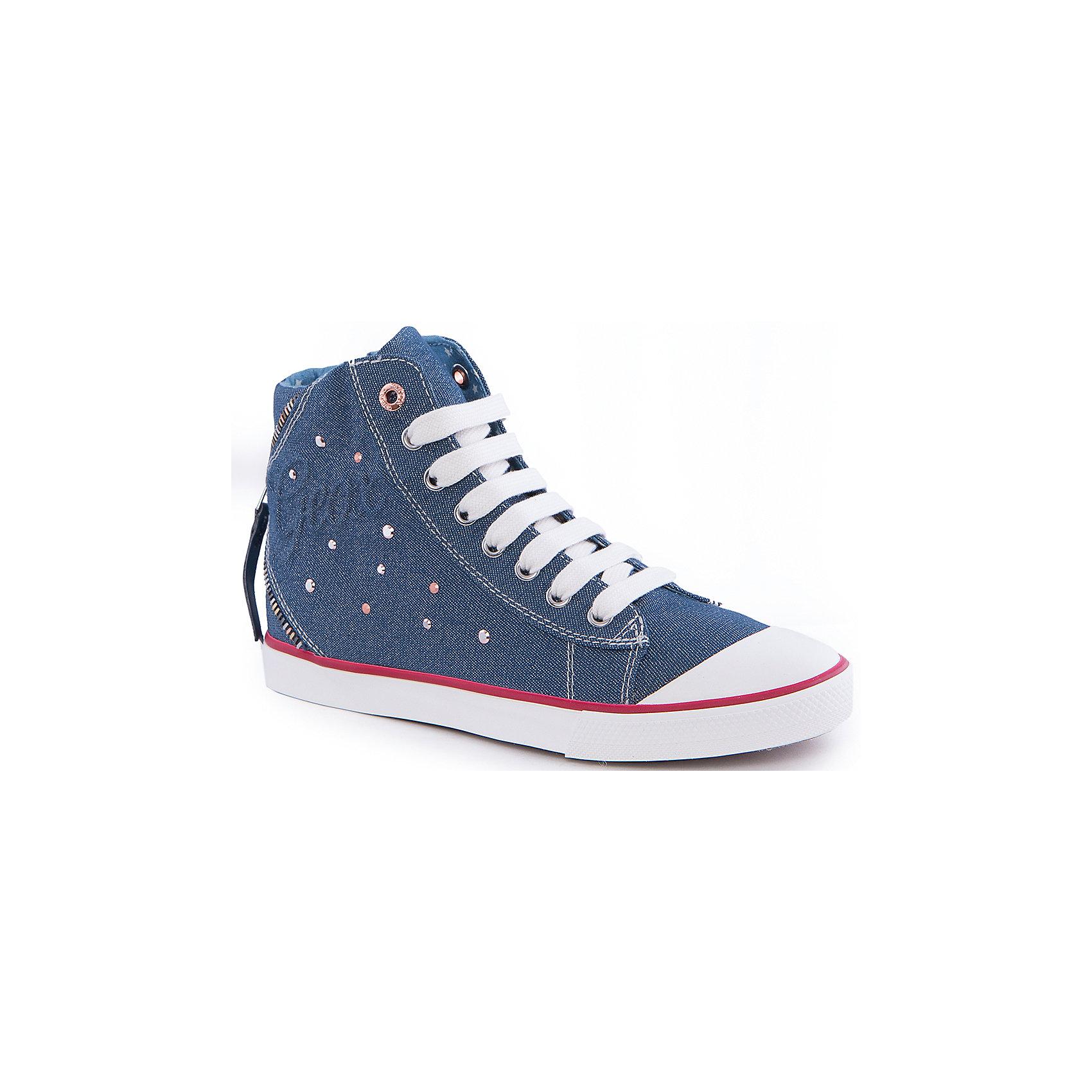Кеды для девочки GeoxКеды<br>Кеды для девочки от популярной марки GEOX (Геокс).<br><br>Модные легкие Кеды - отличная обувь для нового весеннего сезона. Модель очень стильно и оригинально смотрится.<br>Производитель обуви заботится не только о внешнем виде, но и стабильно высоком качестве продукции. GEOX (Геокс) разработал специальную дышащую подошву, которая не пропускает влагу внутрь, а также высокотехнологичную стельку.<br><br>Отличительные особенности модели:<br><br>- цвет: синий джинс;<br>- декорированы белыми и красными элементами;<br>- гибкая водоотталкивающая подошва с дышащей мембраной;<br>- мягкий и легкий верх;<br>- защита пальцев;<br>- стильный дизайн;<br>- удобная шнуровка и молния;<br>- комфортное облегание;<br>- верх обуви и подкладка сделаны без использования хрома.<br><br>Дополнительная информация:<br><br>- Температурный режим: от +10° С до 25° С.<br><br>- Состав:<br><br>материал верха: текстиль, синтетический материал<br>материал подкладки: текстиль<br>подошва: 100% резина<br><br>Кеды для девочки GEOX (Геокс) (Геокс) можно купить в нашем магазине.<br><br>Ширина мм: 250<br>Глубина мм: 150<br>Высота мм: 150<br>Вес г: 250<br>Цвет: синий<br>Возраст от месяцев: 48<br>Возраст до месяцев: 60<br>Пол: Женский<br>Возраст: Детский<br>Размер: 28,38,37,36,35,30,32,34,39,33,31,29<br>SKU: 4519402