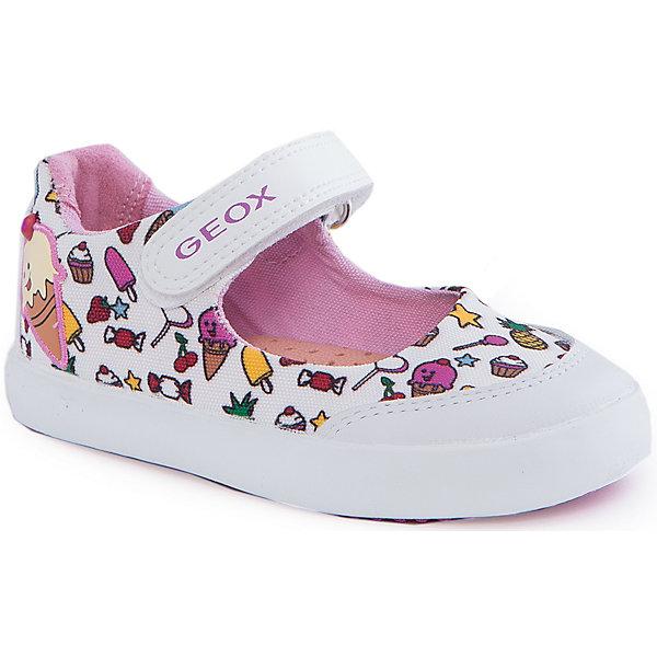 Туфли для девочки GEOXТуфли<br>Туфли для девочки от популярной марки GEOX (Геокс).<br><br>Легкие туфли с принтом - отличная обувь для нового весенне-летнего сезона. Модель очень стильно и оригинально смотрится.<br>Производитель обуви заботится не только о внешнем виде, но и стабильно высоком качестве продукции. GEOX (Геокс) разработал специальную дышащую подошву, которая не пропускает влагу внутрь, а также высокотехнологичную стельку.<br><br>Отличительные особенности модели:<br><br>- цвет: белый;<br>- украшены ярким принтом;<br>- гибкая водоотталкивающая подошва с дышащей мембраной;<br>- мягкий и легкий верх;<br>- защита пальцев;<br>- стильный дизайн;<br>- застежки-липучки;<br>- комфортное облегание;<br>- верх обуви и подкладка сделаны без использования хрома.<br><br>Дополнительная информация:<br><br>- Состав:<br><br>материал верха: текстиль, синтетический материал<br>материал подкладки: текстиль<br>подошва: 100% резина<br><br>Туфли для девочки GEOX (Геокс) (Геокс) можно купить в нашем магазине.<br>Ширина мм: 227; Глубина мм: 145; Высота мм: 124; Вес г: 325; Цвет: белый; Возраст от месяцев: 15; Возраст до месяцев: 18; Пол: Женский; Возраст: Детский; Размер: 22,23,25,26,27,24; SKU: 4519485;