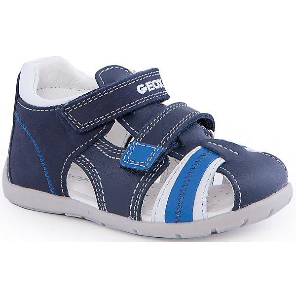 Сандалии для мальчика GEOXОбувь для мальчиков<br>Сандалии для мальчика от популярной марки GEOX (Геокс).<br><br>В модных сандалиях из натуральной кожи ребенок будет выглядеть стильно, а чувствовать себя - комфортно!<br>Производитель обуви заботится не только о внешнем виде, но и стабильно высоком качестве продукции. GEOX (Геокс) разработал специальную дышащую подошву, которая не пропускает влагу внутрь, а также высокотехнологичную стельку.<br><br>Отличительные особенности модели:<br><br>- цвет: синий;<br>- декорированы белыми элементами и прострочкой;<br>- гибкая водоотталкивающая подошва с дышащей мембраной;<br>- мягкий и легкий верх;<br>- защита пальцев и пятки;<br>- стильный дизайн;<br>- удобная застежка-липучка;<br>- комфортное облегание;<br>- верх обуви и подкладка сделаны без использования хрома.<br><br>Дополнительная информация:<br><br>- Состав:<br><br>материал верха: натуральная кожа<br>материал подкладки: натуральная кожа<br>подошва: резина<br><br>Сандалии для мальчика GEOX (Геокс) (Геокс) можно купить в нашем магазине.<br>Ширина мм: 262; Глубина мм: 176; Высота мм: 97; Вес г: 427; Цвет: синий; Возраст от месяцев: 18; Возраст до месяцев: 21; Пол: Мужской; Возраст: Детский; Размер: 23,20,21,22,24,25; SKU: 4519506;