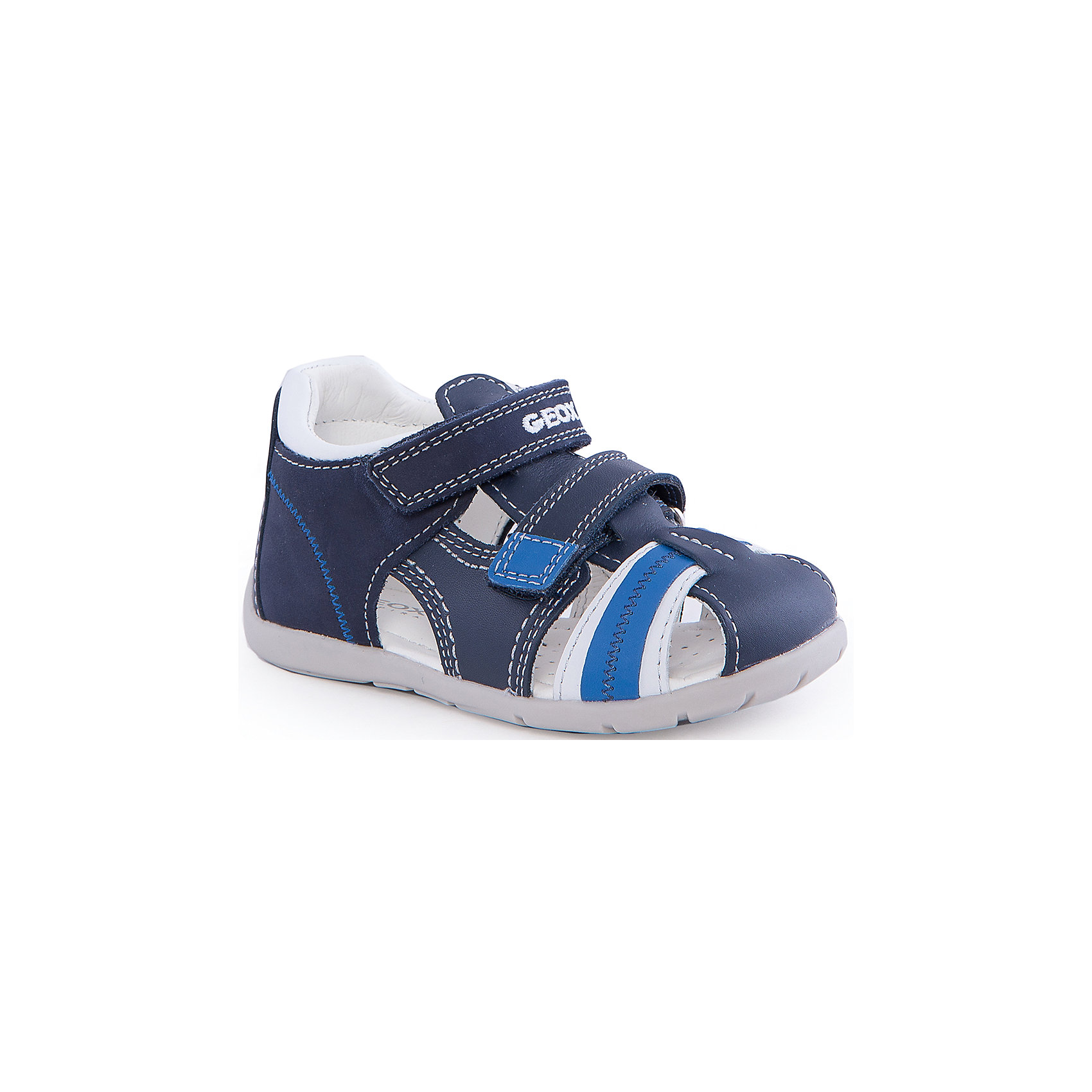 Сандалии для мальчика GEOXСандалии для мальчика от популярной марки GEOX (Геокс).<br><br>В модных сандалиях из натуральной кожи ребенок будет выглядеть стильно, а чувствовать себя - комфортно!<br>Производитель обуви заботится не только о внешнем виде, но и стабильно высоком качестве продукции. GEOX (Геокс) разработал специальную дышащую подошву, которая не пропускает влагу внутрь, а также высокотехнологичную стельку.<br><br>Отличительные особенности модели:<br><br>- цвет: синий;<br>- декорированы белыми элементами и прострочкой;<br>- гибкая водоотталкивающая подошва с дышащей мембраной;<br>- мягкий и легкий верх;<br>- защита пальцев и пятки;<br>- стильный дизайн;<br>- удобная застежка-липучка;<br>- комфортное облегание;<br>- верх обуви и подкладка сделаны без использования хрома.<br><br>Дополнительная информация:<br><br>- Состав:<br><br>материал верха: натуральная кожа<br>материал подкладки: натуральная кожа<br>подошва: резина<br><br>Сандалии для мальчика GEOX (Геокс) (Геокс) можно купить в нашем магазине.<br><br>Ширина мм: 262<br>Глубина мм: 176<br>Высота мм: 97<br>Вес г: 427<br>Цвет: синий<br>Возраст от месяцев: 9<br>Возраст до месяцев: 12<br>Пол: Мужской<br>Возраст: Детский<br>Размер: 22,20,24,25,23,21<br>SKU: 4519506