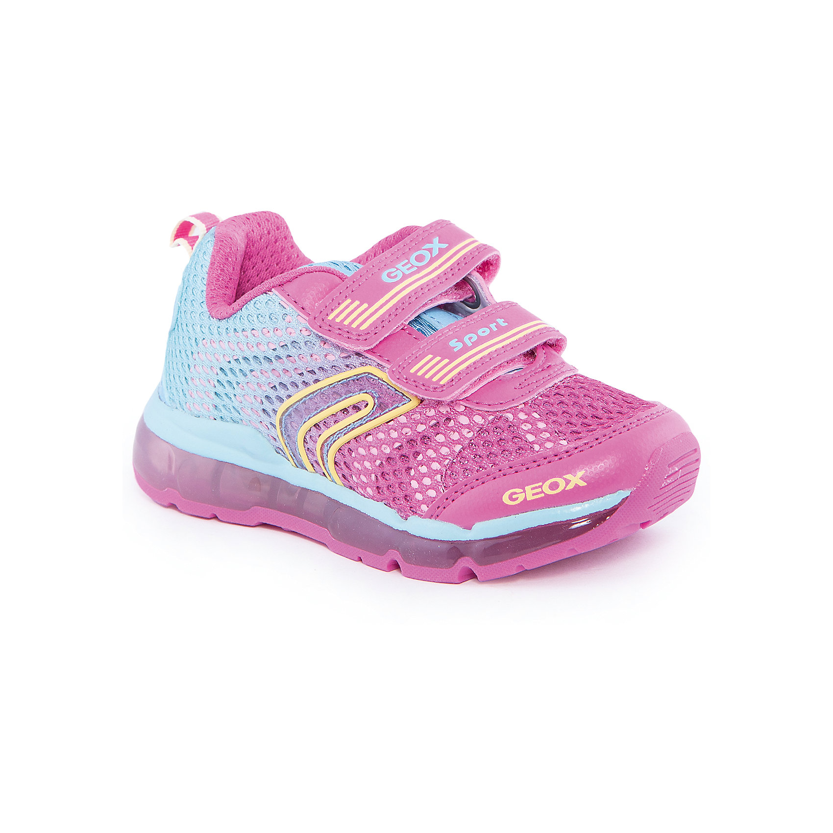 Кроссовки для девочки GEOXКроссовки для девочки от популярной марки GEOX (Геокс).<br><br>Яркие дышащие кроссовки разнообразят гардероб ребенка в новом сезоне! Эта модель создана специально для девочек, она очень стильно и оригинально смотрится.<br>Производитель обуви заботится не только о внешнем виде, но и стабильно высоком качестве продукции. GEOX (Геокс) разработал специальную высокотехнологичную стельку. Вся обувь делается только из качественных и надежных материалов.<br><br>Отличительные особенности модели:<br><br>- цвет: розовый;<br>- декорирована яркими желтыми элементами;<br>- прочная устойчивая подошва;<br>- мягкий и легкий верх;<br>- защита пальцев и пятки;<br>- стильный дизайн;<br>- анатомическая стелька;<br>- удобные застежки - липучки;<br>- комфортное облегание;<br>- подкладка - натуральная кожа;<br>- дышащие материалы (технология Geox Respira).<br><br>Дополнительная информация:<br><br>- Сезон: весна/лето.<br><br>- Состав:<br><br>материал верха: искусственная кожа, текстиль;<br>подкладка: натуральная кожа, текстиль;<br>стелька: натуральная кожа;<br>подошва: полимер.<br><br>Кроссовки для девочки GEOX (Геокс) можно купить в нашем магазине.<br><br>Ширина мм: 250<br>Глубина мм: 150<br>Высота мм: 150<br>Вес г: 250<br>Цвет: розовый<br>Возраст от месяцев: 36<br>Возраст до месяцев: 48<br>Пол: Женский<br>Возраст: Детский<br>Размер: 27,28,26,32,33,34,31,30,29<br>SKU: 4519594