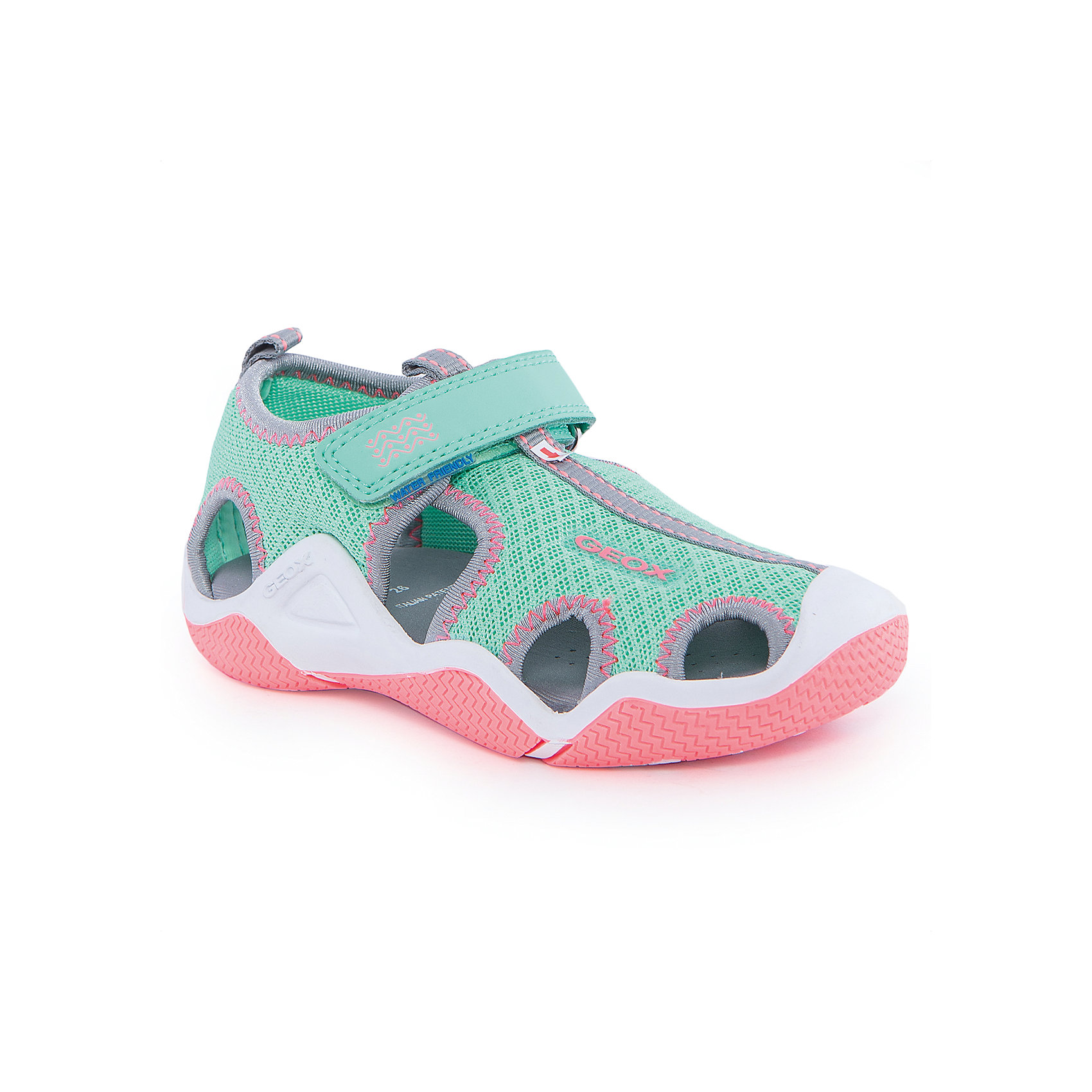 Босоножки для девочки GEOXБосоножки<br>Босоножки для девочки от популярной марки GEOX (Геокс).<br><br>Модные легкие босоножки - отличная обувь для нового летнего сезона. Эта модель создана специально для девочек, она очень стильно и оригинально смотрится.<br>Производитель обуви заботится не только о внешнем виде, но и стабильно высоком качестве продукции. GEOX (Геокс) разработал специальную высокотехнологичную стельку. Вся обувь делается только из качественных и надежных материалов. <br><br>Отличительные особенности модели:<br><br>- цвет: зеленый;<br>- декорирована яркой прострочкой, оранжевой подошвой и серой окантовкой;<br>- гибкая прочная подошва;<br>- мягкий и легкий верх;<br>- защита пальцев;<br>- стильный дизайн;<br>- анатомическая стелька;<br>- удобная застежка - липучка;<br>- технология Geox Respira;<br>- комфортное облегание.<br><br>Дополнительная информация:<br><br>- Сезон: весна/лето.<br><br>- Состав:<br><br>материал верха: текстиль;<br>подошва: 100% резина.<br><br>Босоножки для девочки GEOX (Геокс) можно купить в нашем магазине.<br><br>Ширина мм: 219<br>Глубина мм: 154<br>Высота мм: 121<br>Вес г: 343<br>Цвет: серый<br>Возраст от месяцев: 144<br>Возраст до месяцев: 156<br>Пол: Женский<br>Возраст: Детский<br>Размер: 36,26,37,35,34,33,32,31,30,29,28,27<br>SKU: 4519729