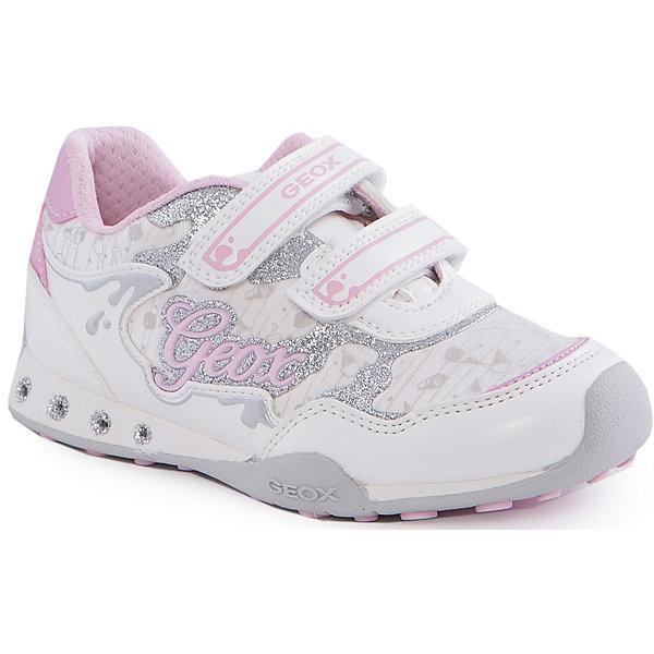 Кроссовки со светодиодами для девочки GEOXКроссовки<br>Кроссовки для девочки от популярной марки GEOX (Геокс).<br><br>Модные легкие кроссовки - отличная обувь для нового весеннего сезона. Модель очень стильно и оригинально смотрится.<br>Производитель обуви заботится не только о внешнем виде, но и стабильно высоком качестве продукции. GEOX (Геокс) разработал специальную дышащую подошву, которая не пропускает влагу внутрь, а также высокотехнологичную стельку.<br><br>Отличительные особенности модели:<br><br>- цвет: белый;<br>- декорированы серебристыми и розовыми элементами;<br>- гибкая водоотталкивающая подошва с дышащей мембраной;<br>- мягкий и легкий верх;<br>- защита пальцев;<br>- стильный дизайн;<br>- удобные застежки-липучки;<br>- комфортное облегание;<br>- верх обуви и подкладка сделаны без использования хрома.<br><br>Дополнительная информация:<br><br>- Температурный режим: от +10° С до 25° С.<br><br>- Состав:<br><br>материал верха: текстиль, синтетический материал<br>материал подкладки: текстиль<br>подошва: резина<br><br>Кроссовки для девочки GEOX (Геокс) (Геокс) можно купить в нашем магазине.<br>Ширина мм: 250; Глубина мм: 150; Высота мм: 150; Вес г: 250; Цвет: белый; Возраст от месяцев: 60; Возраст до месяцев: 72; Пол: Женский; Возраст: Детский; Размер: 31,32,33,34,29,35,27,28,30; SKU: 4519794;
