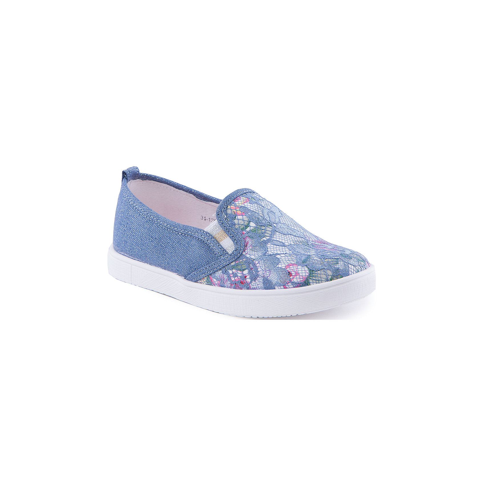 Слипоны для девочки Indigo kidsСлипоны<br>Туфли для девочки от известного бренда Indigo kids.<br><br>Легкие туфли - прекрасный вариант обуви для теплого сезона. Они нарядные и стильные, но в то же время очень удобные. Эту модель можно носить и с юбкой, и с шортами, и с джинсами. Такие туфли легко надеваются, комфортно садятся по ноге. <br><br>Особенности модели:<br><br>- цвет: синий;<br>- стильный дизайн;<br>- удобная колодка;<br>- подкладка из натуральной кожи;<br>- передняя часть изделия декорирована кружевом и цветочным принтом;<br>- задняя часть -  блестящая;<br>- белая нескользящая подошва;<br>- без застежек.<br><br>Дополнительная информация:<br><br>Состав:<br><br>верх – текстиль;<br>подкладка - натуральная кожа;<br>подошва - ТЭП.<br><br>Туфли для девочки Indigo kids (Индиго Кидс) можно купить в нашем магазине.<br><br>Ширина мм: 227<br>Глубина мм: 145<br>Высота мм: 124<br>Вес г: 325<br>Цвет: синий<br>Возраст от месяцев: 108<br>Возраст до месяцев: 120<br>Пол: Женский<br>Возраст: Детский<br>Размер: 33,31,36,35,34,32<br>SKU: 4519880