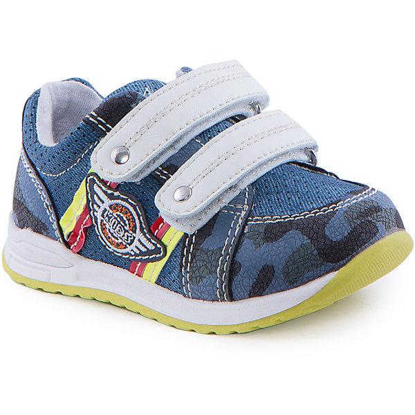Кроссовки для мальчика Indigo kidsКроссовки<br>Ботинки для мальчика от известного бренда Indigo kids<br><br>Стильные и удобные ботинки выполнены в стиле милитари. Очень оригинальная и модная модель создана специально для мальчиков. Ботинки легко надеваются благодаря липучкам и комфортно садятся по ноге. <br><br>Особенности модели:<br><br>- цвет - под синюю джинсу;<br>- стильный дизайн;<br>- удобная колодка;<br>- текстильная подкладка;<br>- качественная контрастная прошивка;<br>- декорированы аппликацией и яркими элементами;<br>- устойчивая салатово/белая подошва;<br>- застежки: две белые липучки.<br><br>Дополнительная информация:<br><br>Состав:<br><br>верх – искусственная кожа;<br>подкладка - текстиль;<br>подошва - ТЭП.<br><br>Ботинки для мальчика Indigo kids (Индиго Кидс) можно купить в нашем магазине.<br><br>Ширина мм: 262<br>Глубина мм: 176<br>Высота мм: 97<br>Вес г: 427<br>Цвет: синий<br>Возраст от месяцев: 12<br>Возраст до месяцев: 15<br>Пол: Мужской<br>Возраст: Детский<br>Размер: 24,25,21,26,22,23<br>SKU: 4519943