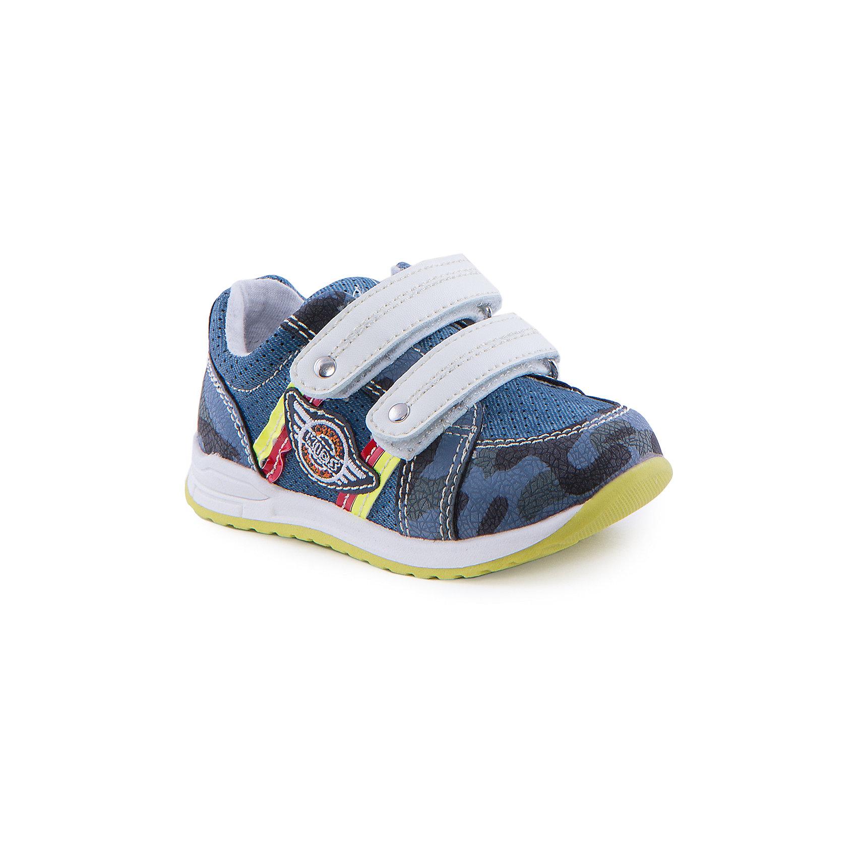 Кроссовки для мальчика Indigo kidsКроссовки<br>Ботинки для мальчика от известного бренда Indigo kids<br><br>Стильные и удобные ботинки выполнены в стиле милитари. Очень оригинальная и модная модель создана специально для мальчиков. Ботинки легко надеваются благодаря липучкам и комфортно садятся по ноге. <br><br>Особенности модели:<br><br>- цвет - под синюю джинсу;<br>- стильный дизайн;<br>- удобная колодка;<br>- текстильная подкладка;<br>- качественная контрастная прошивка;<br>- декорированы аппликацией и яркими элементами;<br>- устойчивая салатово/белая подошва;<br>- застежки: две белые липучки.<br><br>Дополнительная информация:<br><br>Состав:<br><br>верх – искусственная кожа;<br>подкладка - текстиль;<br>подошва - ТЭП.<br><br>Ботинки для мальчика Indigo kids (Индиго Кидс) можно купить в нашем магазине.<br><br>Ширина мм: 262<br>Глубина мм: 176<br>Высота мм: 97<br>Вес г: 427<br>Цвет: синий<br>Возраст от месяцев: 12<br>Возраст до месяцев: 15<br>Пол: Мужской<br>Возраст: Детский<br>Размер: 21,26,25,24,23,22<br>SKU: 4519943
