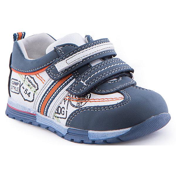 Полуботинки для мальчика Indigo kidsБотинки<br>Полуботинки для мальчика от известного бренда Indigo kids<br><br>Стильные и удобные кроссовки - прекрасный вариант обуви для теплого сезона. Они красивые и модные, но в то же время очень удобные. Кроссовки легко надеваются благодаря липучкам и комфортно садятся по ноге. <br><br>Особенности модели:<br><br>- цвет - белый, синий;<br>- стильный дизайн;<br>- удобная колодка;<br>- натуральная кожаная подкладка;<br>- декорированы принтом;<br>- качественная контрастная прошивка;<br>- декорированы яркими элементами;<br>- устойчивая подошва;<br>- застежки: липучки.<br><br>Дополнительная информация:<br><br>Состав:<br><br>верх – искусственная кожа;<br>подкладка - натуральная кожа;<br>подошва - ТЭП.<br><br>Полуботинки для мальчика Indigo kids (Индиго Кидс) можно купить в нашем магазине.<br><br>Ширина мм: 262<br>Глубина мм: 176<br>Высота мм: 97<br>Вес г: 427<br>Цвет: синий<br>Возраст от месяцев: 12<br>Возраст до месяцев: 15<br>Пол: Мужской<br>Возраст: Детский<br>Размер: 21,24,25,26,22,23<br>SKU: 4519950