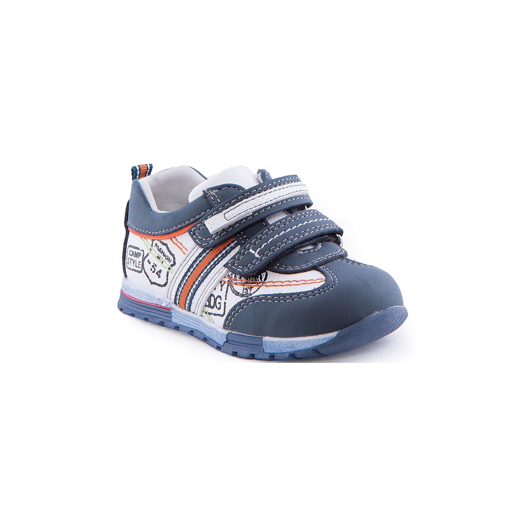 Полуботинки для мальчика Indigo kidsБотинки<br>Полуботинки для мальчика от известного бренда Indigo kids<br><br>Стильные и удобные кроссовки - прекрасный вариант обуви для теплого сезона. Они красивые и модные, но в то же время очень удобные. Кроссовки легко надеваются благодаря липучкам и комфортно садятся по ноге. <br><br>Особенности модели:<br><br>- цвет - белый, синий;<br>- стильный дизайн;<br>- удобная колодка;<br>- натуральная кожаная подкладка;<br>- декорированы принтом;<br>- качественная контрастная прошивка;<br>- декорированы яркими элементами;<br>- устойчивая подошва;<br>- застежки: липучки.<br><br>Дополнительная информация:<br><br>Состав:<br><br>верх – искусственная кожа;<br>подкладка - натуральная кожа;<br>подошва - ТЭП.<br><br>Полуботинки для мальчика Indigo kids (Индиго Кидс) можно купить в нашем магазине.<br><br>Ширина мм: 262<br>Глубина мм: 176<br>Высота мм: 97<br>Вес г: 427<br>Цвет: синий<br>Возраст от месяцев: 12<br>Возраст до месяцев: 15<br>Пол: Мужской<br>Возраст: Детский<br>Размер: 21,26,25,22,24,23<br>SKU: 4519950