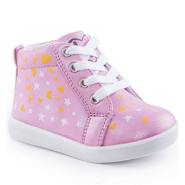Ботинки для девочки Indigo kidsОбувь для малышей<br>Ботинки для девочки от известного бренда Indigo kids<br><br>Очень красивые нарядные ботинки могут быть и очень удобными! Яркий цвет делает эту модель стильной и привлекающей внимание. Ботинки легко надеваются благодаря шнуровке и молнии и комфортно садятся по ноге. <br><br>Особенности модели:<br><br>- цвет - розовый, блестящие;<br>- стильный дизайн;<br>- удобная колодка;<br>- текстильная подкладка;<br>- украшены принтом из сердечек и звездочек;<br>- устойчивая подошва;<br>- контрастные шнурки;<br>- застежки: шнуровка, молния.<br><br>Дополнительная информация:<br><br>Температурный режим:<br>от +5° С до +20° С<br><br>Состав:<br><br>верх – искусственная кожа;<br>подкладка - текстиль;<br>подошва - ТЭП.<br><br>Ботинки для девочки Indigo kids (Индиго Кидс) можно купить в нашем магазине.<br>Ширина мм: 262; Глубина мм: 176; Высота мм: 97; Вес г: 427; Цвет: розовый; Возраст от месяцев: 12; Возраст до месяцев: 15; Пол: Женский; Возраст: Детский; Размер: 21,23,25,26,22,24; SKU: 4519985;