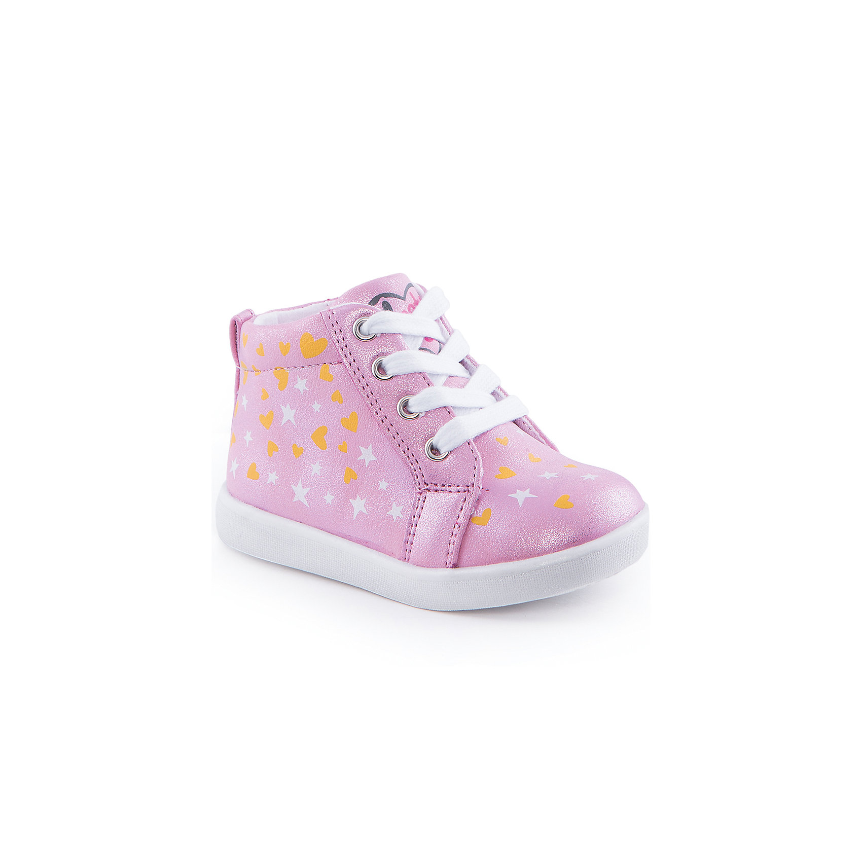Ботинки для девочки Indigo kidsОбувь для малышей<br>Ботинки для девочки от известного бренда Indigo kids<br><br>Очень красивые нарядные ботинки могут быть и очень удобными! Яркий цвет делает эту модель стильной и привлекающей внимание. Ботинки легко надеваются благодаря шнуровке и молнии и комфортно садятся по ноге. <br><br>Особенности модели:<br><br>- цвет - розовый, блестящие;<br>- стильный дизайн;<br>- удобная колодка;<br>- текстильная подкладка;<br>- украшены принтом из сердечек и звездочек;<br>- устойчивая подошва;<br>- контрастные шнурки;<br>- застежки: шнуровка, молния.<br><br>Дополнительная информация:<br><br>Температурный режим:<br>от +5° С до +20° С<br><br>Состав:<br><br>верх – искусственная кожа;<br>подкладка - текстиль;<br>подошва - ТЭП.<br><br>Ботинки для девочки Indigo kids (Индиго Кидс) можно купить в нашем магазине.<br><br>Ширина мм: 262<br>Глубина мм: 176<br>Высота мм: 97<br>Вес г: 427<br>Цвет: розовый<br>Возраст от месяцев: 12<br>Возраст до месяцев: 15<br>Пол: Женский<br>Возраст: Детский<br>Размер: 21,23,24,22,26,25<br>SKU: 4519985