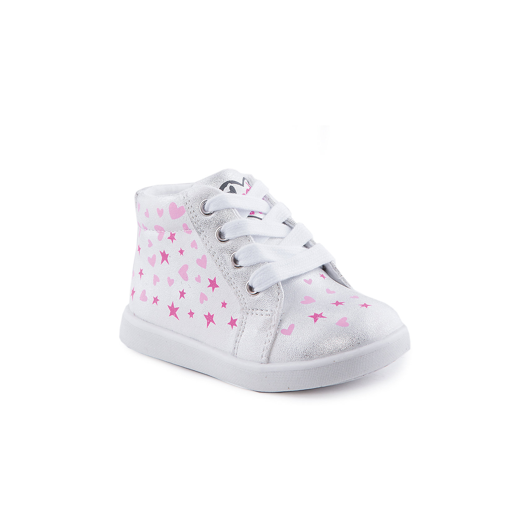 Ботинки для девочки Indigo kidsОбувь для малышей<br>Ботинки для девочки от известного бренда Indigo kids<br><br>Очень красивые нарядные ботинки могут быть и очень удобными! Яркий цвет делает эту модель стильной и привлекающей внимание. Ботинки легко надеваются благодаря шнуровке и молнии и комфортно садятся по ноге. <br><br>Особенности модели:<br><br>- цвет - белый, блестящие;<br>- стильный дизайн;<br>- удобная колодка;<br>- текстильная подкладка;<br>- украшены принтом из сердечек и звездочек;<br>- устойчивая подошва;<br>- контрастные шнурки;<br>- застежки: шнуровка, молния.<br><br>Дополнительная информация:<br><br>Температурный режим:<br>от +5° С до +20° С<br><br>Состав:<br><br>верх – искусственная кожа;<br>подкладка - текстиль;<br>подошва - ТЭП.<br><br>Ботинки для девочки Indigo kids (Индиго Кидс) можно купить в нашем магазине.<br><br>Ширина мм: 262<br>Глубина мм: 176<br>Высота мм: 97<br>Вес г: 427<br>Цвет: белый<br>Возраст от месяцев: 12<br>Возраст до месяцев: 15<br>Пол: Женский<br>Возраст: Детский<br>Размер: 21,26,23,25,24,22<br>SKU: 4519992