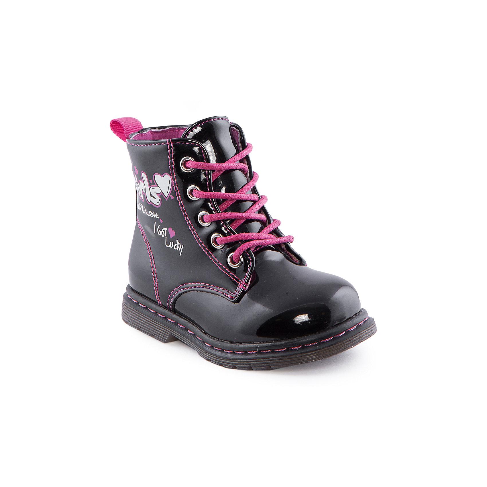 Ботинки для девочки Indigo kidsБотинки<br>Ботинки для девочки от известного бренда Indigo kids<br><br>Очень красивые нарядные ботинки могут быть и очень удобными! Яркий цвет делает эту модель стильной и привлекающей внимание. Ботинки легко надеваются благодаря шнуровке и молнии и комфортно садятся по ноге. <br><br>Особенности модели:<br><br>- цвет - черный;<br>- лакированная кожа;<br>- стильный дизайн;<br>- удобная колодка;<br>- байковая подкладка;<br>- украшены принтом;<br>- устойчивая подошва;<br>- высокие;<br>- застежки: шнуровка, молния.<br><br>Дополнительная информация:<br><br>Температурный режим:<br>от +5° С до +15° С<br><br>Состав:<br><br>верх – искусственная кожа;<br>подкладка - байка;<br>подошва - ТЭП.<br><br>Ботинки для девочки Indigo kids (Индиго Кидс) можно купить в нашем магазине.<br><br>Ширина мм: 262<br>Глубина мм: 176<br>Высота мм: 97<br>Вес г: 427<br>Цвет: черный<br>Возраст от месяцев: 12<br>Возраст до месяцев: 15<br>Пол: Женский<br>Возраст: Детский<br>Размер: 21,22,26,25,24,23<br>SKU: 4520027