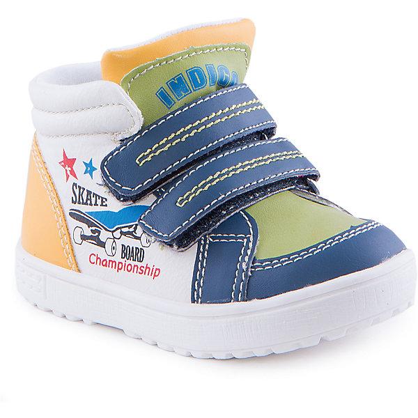 Ботинки для мальчика Indigo kidsБотинки<br>Ботинки для мальчика от известного бренда Indigo kids<br><br>Стильные и удобные ботинки отлично смотрятся на детских ножках. Очень оригинальная и модная модель создана специально для мальчиков. Ботинки легко надеваются благодаря застежкам и комфортно садятся по ноге. <br><br>Особенности модели:<br><br>- цвет - белый, синий, зеленый;<br>- стильный дизайн;<br>- удобная колодка;<br>- текстильная подкладка;<br>- качественная прострочка;<br>- декорированы принтом скейтборд;<br>- устойчивая белая подошва;<br>- застежки: липучки.<br><br>Дополнительная информация:<br><br>Температурный режим:<br>от +5° С до +15° С<br><br>Состав:<br><br>верх – искусственная кожа;<br>подкладка - текстиль;<br>подошва - ТЭП.<br><br>Ботинки для мальчика Indigo kids (Индиго Кидс) можно купить в нашем магазине.<br>Ширина мм: 262; Глубина мм: 176; Высота мм: 97; Вес г: 427; Цвет: белый; Возраст от месяцев: 12; Возраст до месяцев: 15; Пол: Мужской; Возраст: Детский; Размер: 21,22,23,26,25,24; SKU: 4520062;