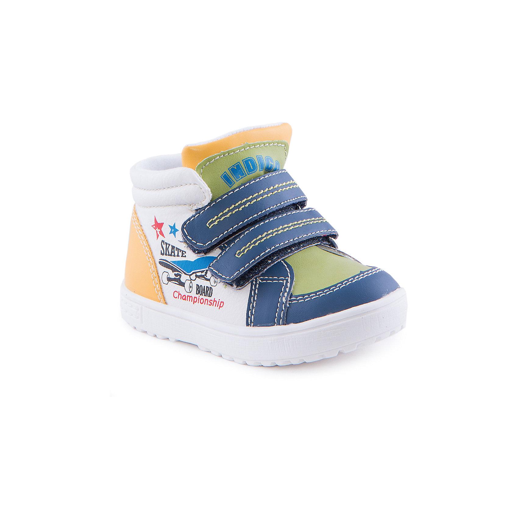 Ботинки для мальчика Indigo kidsБотинки<br>Ботинки для мальчика от известного бренда Indigo kids<br><br>Стильные и удобные ботинки отлично смотрятся на детских ножках. Очень оригинальная и модная модель создана специально для мальчиков. Ботинки легко надеваются благодаря застежкам и комфортно садятся по ноге. <br><br>Особенности модели:<br><br>- цвет - белый, синий, зеленый;<br>- стильный дизайн;<br>- удобная колодка;<br>- текстильная подкладка;<br>- качественная прострочка;<br>- декорированы принтом скейтборд;<br>- устойчивая белая подошва;<br>- застежки: липучки.<br><br>Дополнительная информация:<br><br>Температурный режим:<br>от +5° С до +15° С<br><br>Состав:<br><br>верх – искусственная кожа;<br>подкладка - текстиль;<br>подошва - ТЭП.<br><br>Ботинки для мальчика Indigo kids (Индиго Кидс) можно купить в нашем магазине.<br><br>Ширина мм: 262<br>Глубина мм: 176<br>Высота мм: 97<br>Вес г: 427<br>Цвет: белый<br>Возраст от месяцев: 15<br>Возраст до месяцев: 18<br>Пол: Мужской<br>Возраст: Детский<br>Размер: 24,21,22,23,26,25<br>SKU: 4520062
