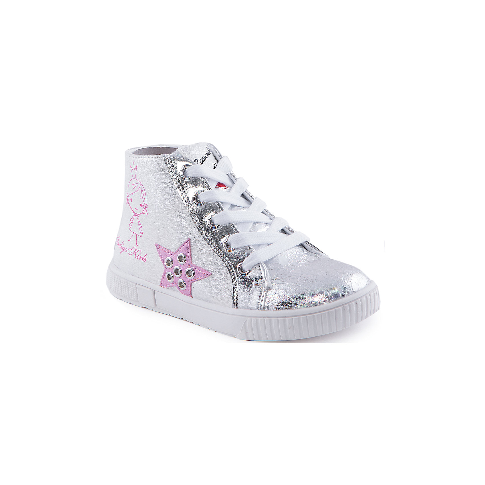 Ботинки для девочки Indigo kidsБотинки для девочки от известного бренда Indigo kids<br><br>Оригинальные полуботинки помогут создать интересный образ! Необычный дизайн делает эту модель стильной и привлекающей внимание. Они легко надеваются и комфортно садятся по ноге. <br><br>Особенности модели:<br><br>- цвет - серебристый, блестящие;<br>- стильный дизайн;<br>- удобная колодка;<br>- текстильная подкладка;<br>- устойчивая белая подошва;<br>- аппликация с металлическими элементами и принт;<br>- шнуровка, молния.<br><br>Дополнительная информация:<br><br>Состав:<br><br>верх – искусственная кожа;<br>подкладка - текстиль;<br>подошва - ТЭП.<br><br>Ботинки для девочки Indigo kids (Индиго Кидс) можно купить в нашем магазине.<br><br>Ширина мм: 262<br>Глубина мм: 176<br>Высота мм: 97<br>Вес г: 427<br>Цвет: серебряный<br>Возраст от месяцев: 36<br>Возраст до месяцев: 48<br>Пол: Женский<br>Возраст: Детский<br>Размер: 26,27,29,30,31,28<br>SKU: 4520090