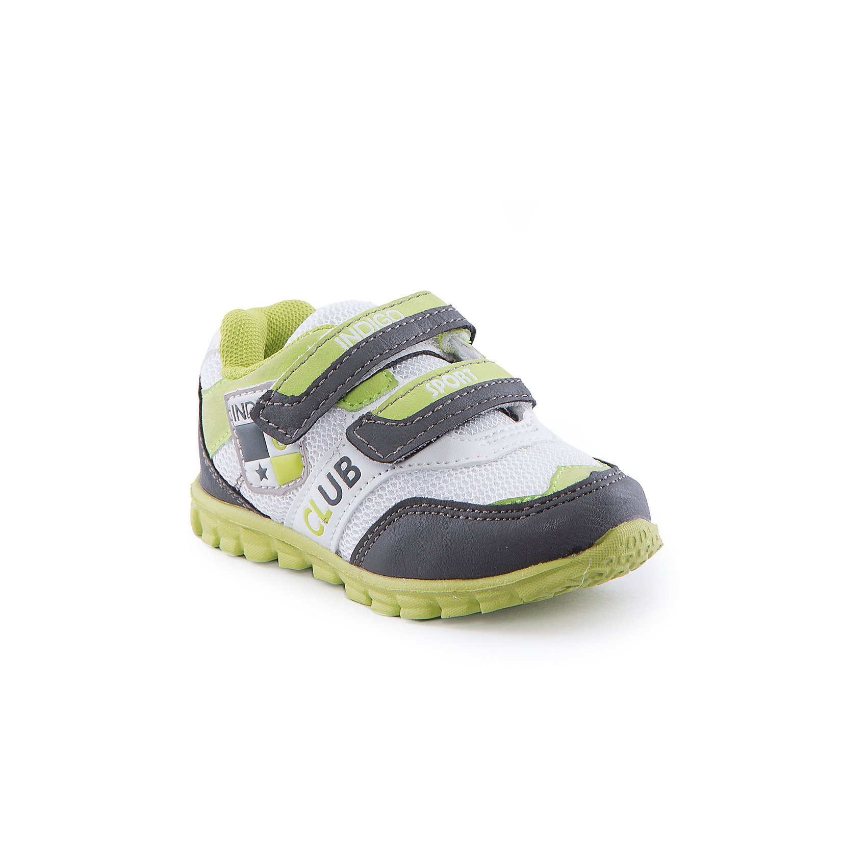 Кроссовки для мальчика Indigo kidsБотинки для мальчика от известного бренда Indigo kids<br><br>Яркие и стильные кроссовки позволяют ножкам ребенка свободно дышать. Они легко надеваются и комфортно садятся по ноге. <br><br>Особенности модели:<br><br>- цвет - салатовый, серый, белый;<br>- стильный дизайн;<br>- удобная колодка;<br>- текстильная подкладка;<br>- украшены яркими вставками;<br>- устойчивая подошва;<br>- дышащая ткань;<br>- застежки: липучки.<br><br>Дополнительная информация:<br><br>Температурный режим:<br>от +10° С до +20° С<br><br>Состав:<br><br>верх – искусственная кожа/текстиль;<br>подкладка - текстиль;<br>подошва - ТЭП.<br><br>Ботинки для мальчика Indigo kids (Индиго Кидс) можно купить в нашем магазине.<br><br>Ширина мм: 262<br>Глубина мм: 176<br>Высота мм: 97<br>Вес г: 427<br>Цвет: серый<br>Возраст от месяцев: 12<br>Возраст до месяцев: 15<br>Пол: Мужской<br>Возраст: Детский<br>Размер: 21,26,22,23,24,25<br>SKU: 4520216