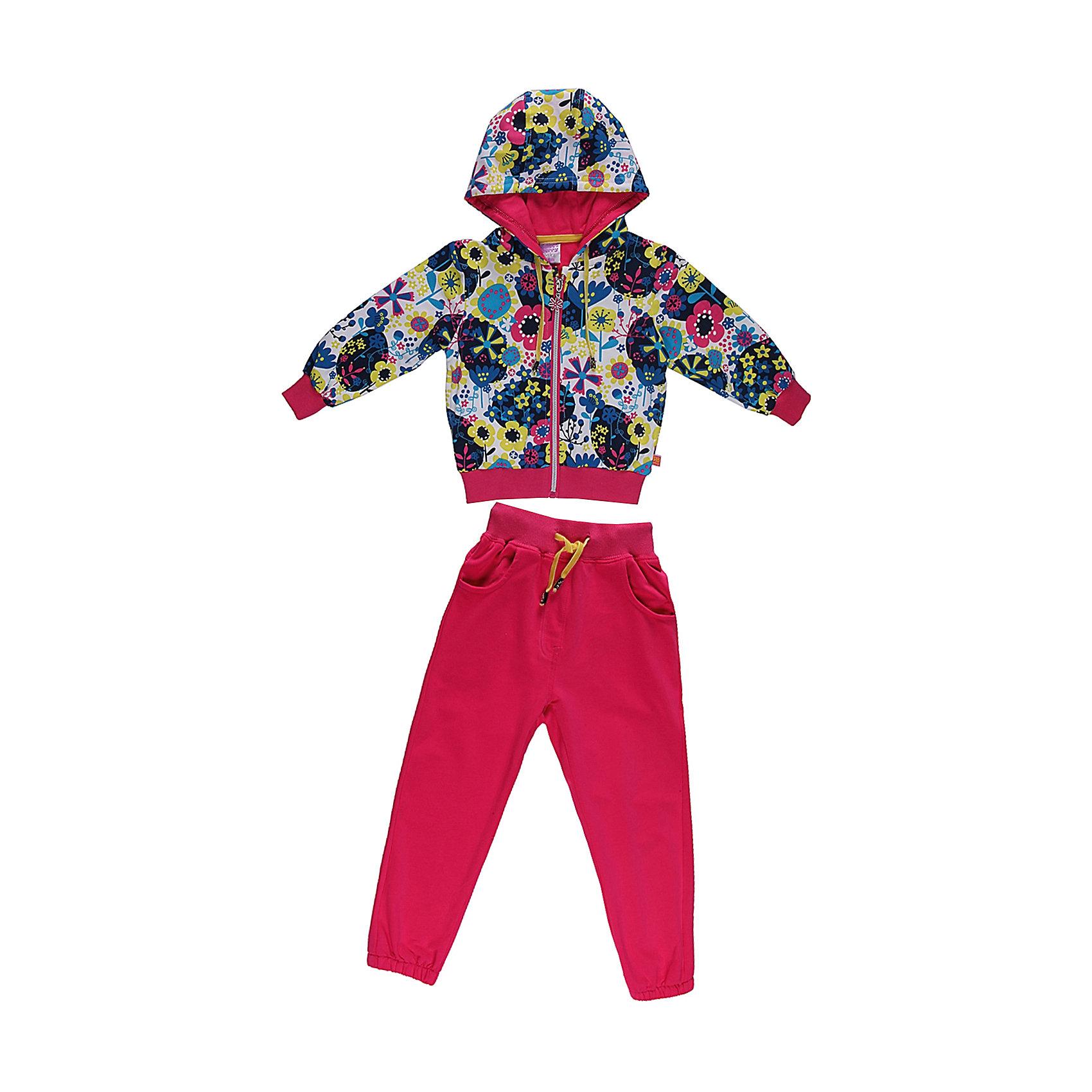 Спортивный костюм для девочки Sweet BerryКомплекты<br>Яркий  комлект из плотного трикотажа.  Манжеты, низ толстовки и пояс брюк- трикотажная резинка. Пояс регулируется шнурком.<br>Состав:<br>95% хлопок, 5% эластан<br><br>Ширина мм: 247<br>Глубина мм: 16<br>Высота мм: 140<br>Вес г: 225<br>Цвет: розовый<br>Возраст от месяцев: 9<br>Возраст до месяцев: 12<br>Пол: Женский<br>Возраст: Детский<br>Размер: 80,92,86,98<br>SKU: 4520260