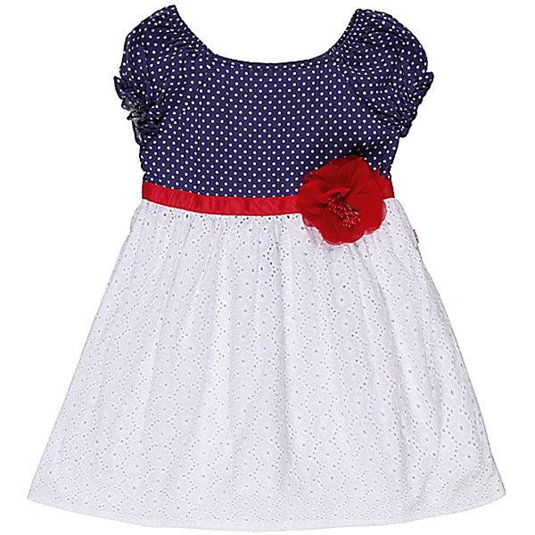 Платье для девочки Sweet BerryПлатья<br>Летнее платье на девочку, выполнено из двух видов ткани, верх - принтованный в горох трикотаж, низ - хлопковое шитье, платье украшено поясом из репсовой ленты и шифоновым цветком.<br>Состав:<br>100% хлопок<br><br>Ширина мм: 236<br>Глубина мм: 16<br>Высота мм: 184<br>Вес г: 177<br>Цвет: синий/белый<br>Возраст от месяцев: 9<br>Возраст до месяцев: 12<br>Пол: Женский<br>Возраст: Детский<br>Размер: 98,92,80,86<br>SKU: 4520303