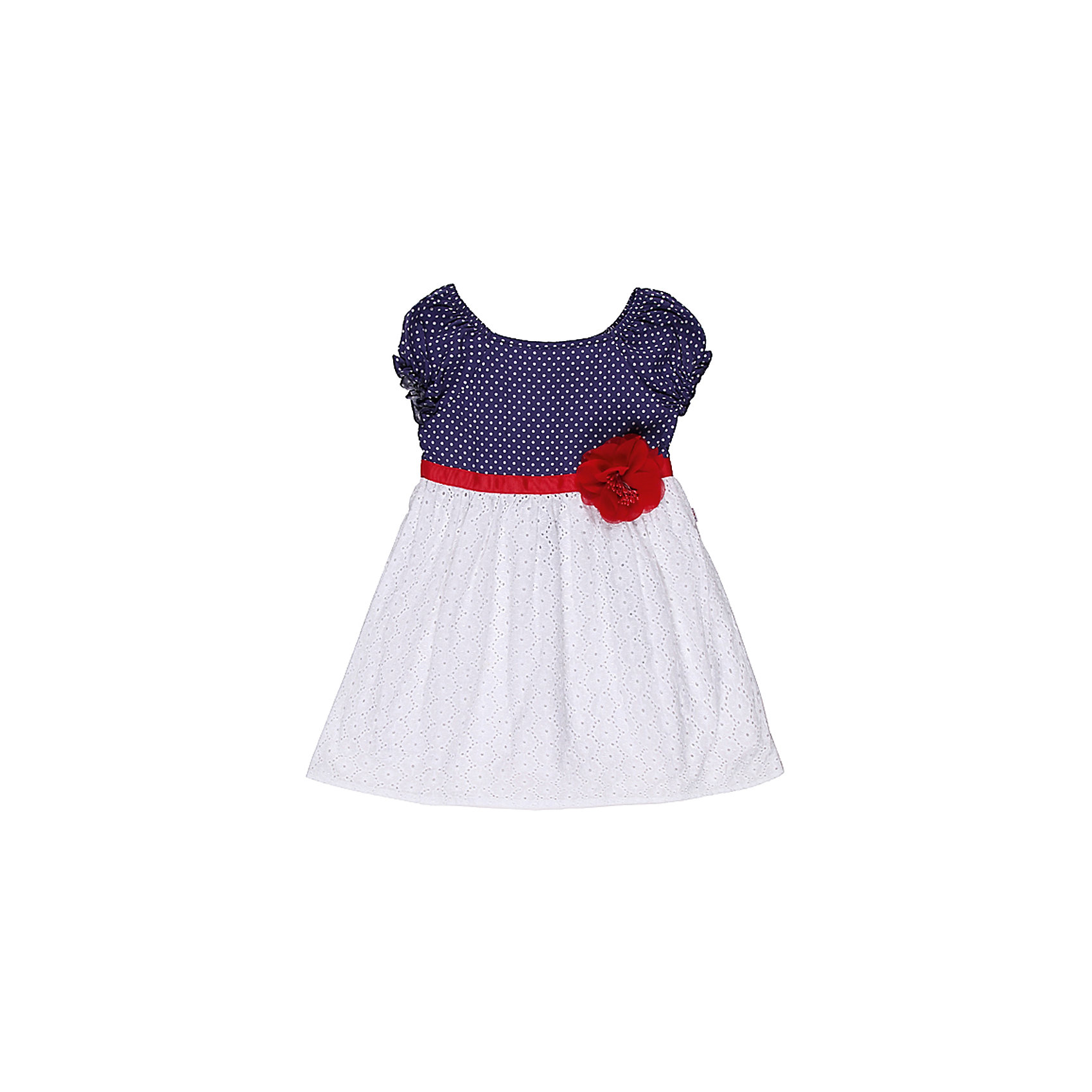 Платье для девочки Sweet BerryПлатья<br>Летнее платье на девочку, выполнено из двух видов ткани, верх - принтованный в горох трикотаж, низ - хлопковое шитье, платье украшено поясом из репсовой ленты и шифоновым цветком.<br>Состав:<br>100% хлопок<br><br>Ширина мм: 236<br>Глубина мм: 16<br>Высота мм: 184<br>Вес г: 177<br>Цвет: синий/белый<br>Возраст от месяцев: 12<br>Возраст до месяцев: 18<br>Пол: Женский<br>Возраст: Детский<br>Размер: 80,98,92,86<br>SKU: 4520303