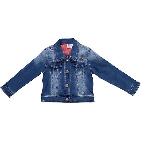 Куртка джинсовая для девочки Sweet BerryВерхняя одежда<br>Джинсовая куртка с контрастной отделкой на кнопках.<br>Состав:<br>98% хлопок, 2% эластан<br>Ширина мм: 356; Глубина мм: 10; Высота мм: 245; Вес г: 519; Цвет: голубой; Возраст от месяцев: 12; Возраст до месяцев: 18; Пол: Женский; Возраст: Детский; Размер: 86,98,92,80; SKU: 4520308;